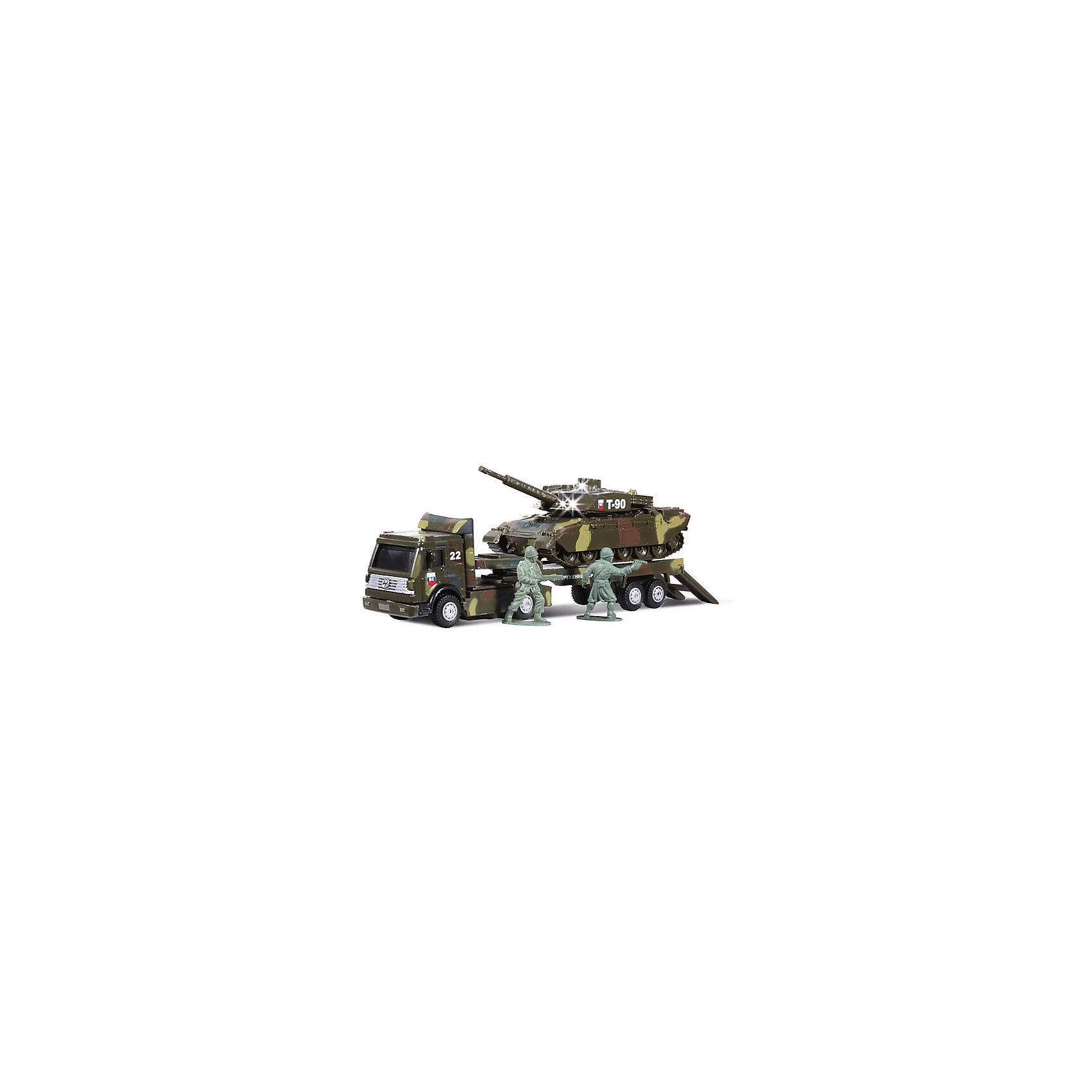 Военный трейлер с инерционным танком на прицепе, со светом и звуком, ТЕХНОПАРКВоенный транспорт<br>Военный трейлер с инерционным танком на прицепе, со светом и звуком, ТЕХНОПАРК – это тщательно проработанная игровая и коллекционная модель.<br>Игровой набор ТехноПарк непременно понравится вашему ребенку. Набор включает в себя военный трейлер-тягач, танк и две фигурки военных. Игрушки выполнены из пластика и металла. Трап тягача откидывается. Башня танка и огнемет подвижны. При нажатии кнопки на крыше танка кнопка и лампочки начинают светиться, при этом слышны звуки боя и приказы командира. Танк и тягач имеют подвижные прорезиненные колесики. Гусеница танка неподвижна. Тягач оснащен инерционным механизмом: стоит откатить игрушку назад, затем отпустить - и он молниеносно поедет вперед. Ваш ребенок будет часами играть с набором, придумывая различные истории. Порадуйте его таким замечательным подарком!<br><br>Дополнительная информация:<br><br>- В наборе: тягач, танк, 2 фигурки<br>- Масштаб: 1:43<br>- Материал: металл, пластик<br>- Работает от батареек<br>- Размеры: тягач 23х4,5х6 см., танк 15,5х 6х5 см., высота фигурок 4 см.<br>- Размер упаковки: 30х12,5х8см.<br>- Вес: 390 гр.<br><br>Военный трейлер с инерционным танком на прицепе, со светом и звуком, ТЕХНОПАРК можно купить в нашем интернет-магазине.<br><br>Ширина мм: 80<br>Глубина мм: 130<br>Высота мм: 300<br>Вес г: 390<br>Возраст от месяцев: 36<br>Возраст до месяцев: 120<br>Пол: Мужской<br>Возраст: Детский<br>SKU: 4077257