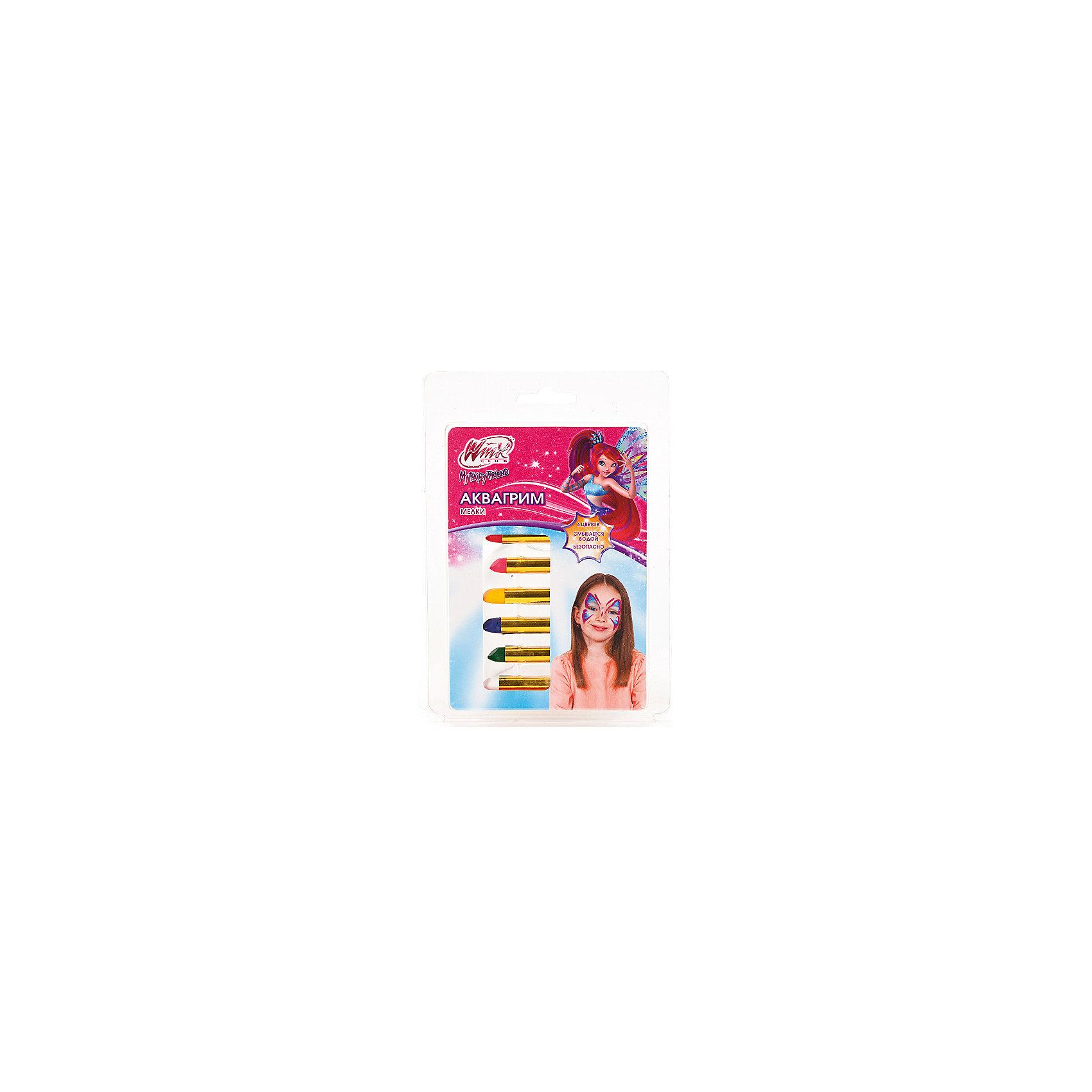 Мелки для аквагрима Multiart, 6 цветов, Winx ClubКосметика, грим и парфюмерия<br>С Мелками для аквагрима «Multiart» (Мультиарт), 6 цветов, Winx Club (Клуб Винкс) даже самый обычный день превратится в замечательный праздник! 6 разноцветных мелков в индивидуальной обертке на водной основе созданы специально для детей, прекрасно ложатся на лицо и потом смываются водой. Не оставляет на коже ни следов покраснения, ни аллергической реакции. Упаковка украшена изображением феи из популярного мультсериала «Клуб Винкс».<br><br>Комплектация: 6 разноцветных мелков<br><br>Дополнительная информация:<br>-Серия: Клуб Винкс<br>-Вес в упаковке: 50 г<br>-Размеры в упаковке: 170х120х20 мм<br>-Материалы: краски на водной основе, пластик<br><br>Нанесение грима – это отличный способ создать для себя новый образ, а праздник сделать неповторимым и ярким, и набор разноцветных мелков для аквагрима поможет Вашей девочке в этом! <br><br>Мелки для аквагрима «Multiart» (Мультиарт), 6 цветов, Winx Club (Клуб Винкс) можно купить в нашем магазине.<br><br>Ширина мм: 170<br>Глубина мм: 120<br>Высота мм: 20<br>Вес г: 50<br>Возраст от месяцев: 60<br>Возраст до месяцев: 144<br>Пол: Женский<br>Возраст: Детский<br>SKU: 4079267