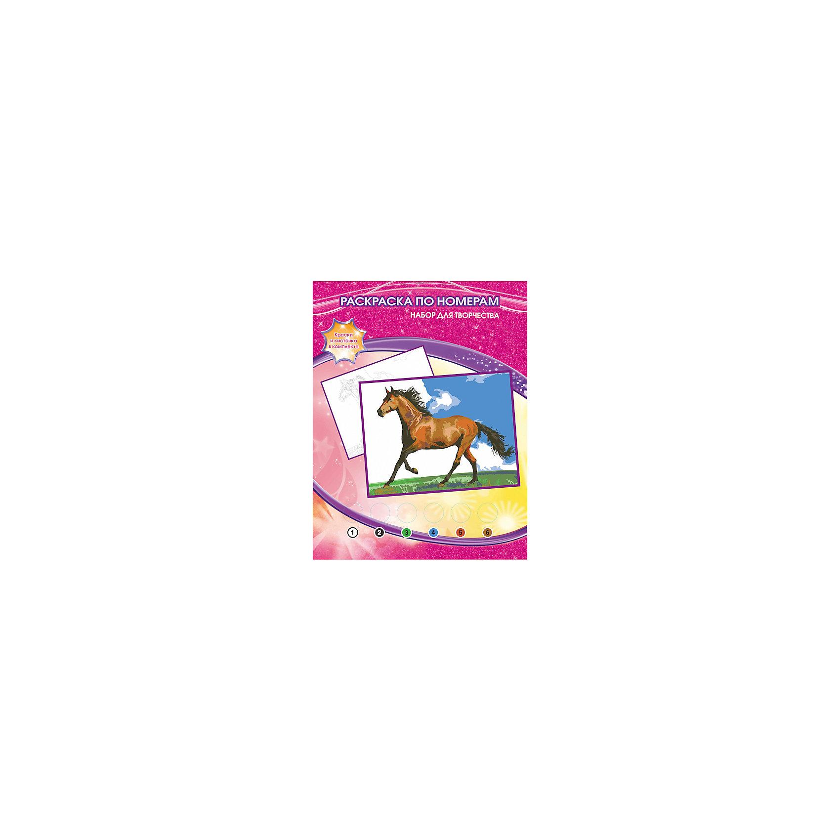 Раскраска по номерам Лошадь, Играем вместеРисование<br>Раскраска по номерам Лошадь, Играем вместе – это простой и удобный способ для ребенка научиться работать с кисточкой и красками и нарисовать настоящую картину. Набор включает в себя все необходимое: рисунок-контур с пронумерованными по цветам областями, набор из шести также пронумерованных красок, палитра для получения новых оттенков, кисточка. Благодаря данному комплекту, ребенок легко и непринужденно сможет научиться рисовать кистью и красками, а также смешивать цвета.<br><br>Комплектация: раскраска-основа с нанесенным контуром, краски 6 цветов, кисточка, инструкция<br><br>Дополнительная информация:<br>-Вес в упаковке: 160 г<br>-Размеры в упаковке: 220х300х20 мм<br>-Материалы: бумага, краски, пластмасса<br>-Размер готовой картины: 20х25 см<br><br>Аккуратно раскрасив области черно-белого рисунка по контуру, Ваш ребенок нарисует картину с бегущей лошадью, а затем повесить ее на стену своей комнаты.<br><br>Раскраска по номерам Лошадь, Играем вместе можно купить в нашем магазине.<br><br>Ширина мм: 220<br>Глубина мм: 300<br>Высота мм: 20<br>Вес г: 160<br>Возраст от месяцев: 60<br>Возраст до месяцев: 108<br>Пол: Унисекс<br>Возраст: Детский<br>SKU: 4079290