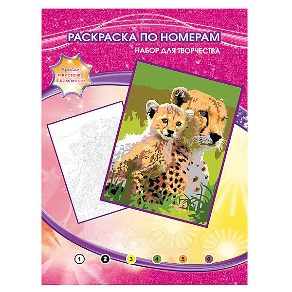 Раскраска по номерам Гепарды, Играем вместеНаборы для раскрашивания<br>Раскраска по номерам Гепарды, Играем вместе – это простой и удобный способ для ребенка научиться работать с кисточкой и красками и нарисовать настоящую картину. Набор включает в себя все необходимое: рисунок-контур с пронумерованными по цветам областями, набор из шести также пронумерованных красок, палитра для получения новых оттенков, кисточка. Благодаря данному комплекту, ребенок легко и непринужденно сможет научиться рисовать кистью и красками, а также смешивать цвета.<br><br>Комплектация: раскраска-основа с нанесенным контуром, краски 6 цветов, кисточка, инструкция<br><br>Дополнительная информация:<br>-Вес в упаковке: 160 г<br>-Размеры в упаковке: 220х300х20 мм<br>-Материалы: бумага, краски, пластмасса<br>-Размер готовой картины: 20х25 см<br><br>Аккуратно раскрасив области черно-белого рисунка по контуру, Ваш ребенок нарисует картину с гепардом и ее детенышем, а затем повесить ее на стену своей комнаты.<br><br>Раскраска по номерам Гепарды, Играем вместе можно купить в нашем магазине.<br>Ширина мм: 220; Глубина мм: 300; Высота мм: 20; Вес г: 160; Возраст от месяцев: 60; Возраст до месяцев: 108; Пол: Унисекс; Возраст: Детский; SKU: 4079291;