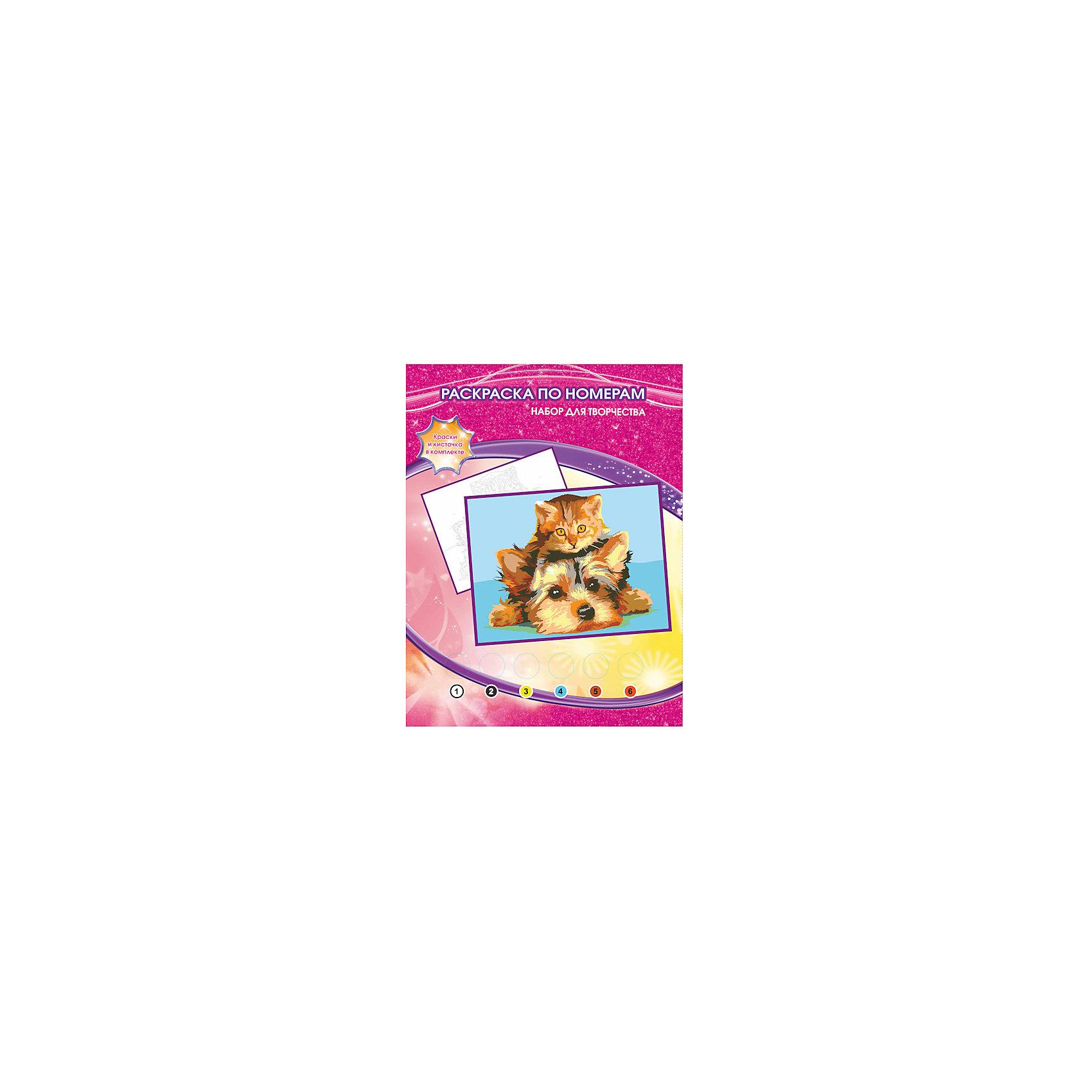 Раскраска по номерам Щенок и котенокРаскраска по номерам Щенок и котенок – это простой и удобный способ для ребенка научиться работать с кисточкой и красками и нарисовать настоящую картину с изображением милых щенка и котенка. Набор включает в себя все необходимое: рисунок-контур с пронумерованными по цветам областями, набор из шести также пронумерованных красок, палитра для получения новых оттенков, кисточка. Благодаря данному комплекту, ребенок легко и непринужденно сможет научиться рисовать кистью и красками, а также смешивать цвета.<br><br>Комплектация: раскраска-основа с нанесенным контуром, краски 6 цветов, кисточка, инструкция<br><br>Дополнительная информация:<br>-Вес в упаковке: 160 г<br>-Размеры в упаковке: 220х300х20 мм<br>-Материалы: бумага, краски, пластмасса<br>-Размер готовой картины: 20х25 см<br><br>Аккуратно раскрасив области черно-белого рисунка по контуру, Ваш ребенок нарисует красивую картину, а затем украсит ей свою комнату.<br><br>Раскраска по номерам Щенок и котенок можно купить в нашем магазине.<br><br>Ширина мм: 220<br>Глубина мм: 300<br>Высота мм: 20<br>Вес г: 160<br>Возраст от месяцев: 60<br>Возраст до месяцев: 108<br>Пол: Унисекс<br>Возраст: Детский<br>SKU: 4079292