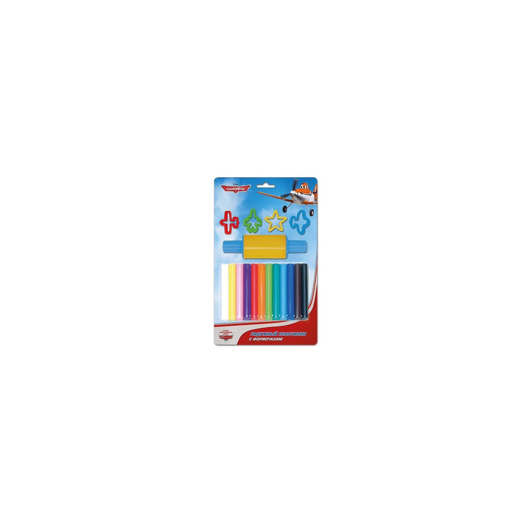 Набор пластилина с формочками, 12 цветов, СамолетыНабор пластилина с формочками, 12 цветов, Самолеты состоит из 12 брусочков разноцветного пластилина, 4 формочек различной формы и скалки для раскатки пластилина. Работа с пластилином будет стимулировать развитие творческих способностей и воображения, мелкой моторики, способствовать развитию мышц рук, тренировать внимательность, аккуратность, способствовать самовыражению. Самолетик Дасти из любимого диснеевского мультфильма «Самолеты», изображенный на упаковке, вдохновит малыша на создание своих первых поделок из пластилина!<br>Характеристики:<br>-Яркие и насыщенные цвета <br>-Пластилин нетоксичен, не прилипает к рукам <br>-Пластилин легко снимается с различных поверхностей<br>-Пластилин обладает отличными пластичными свойствами<br>-Пластилин легко смешивается для получения новых оттенков<br><br>Комплектация: пластилин 12 цветов, формочки 4 шт., скалка<br><br>Дополнительная информация:<br>-Серия: Самолеты<br>-Вес в упаковке: 240 г<br>-Размеры в упаковке: 190х300х30  мм<br>-Материалы: пластик, пластилин<br><br>Лучший подарок для Вашего ребенка – это набор пластилина с формочками, который будет способствовать разностороннему развитию малыша! <br><br>Набор пластилина с формочками, 12 цветов, Самолеты можно купить в нашем магазине.<br><br>Ширина мм: 190<br>Глубина мм: 300<br>Высота мм: 30<br>Вес г: 240<br>Возраст от месяцев: 36<br>Возраст до месяцев: 84<br>Пол: Мужской<br>Возраст: Детский<br>SKU: 4079310