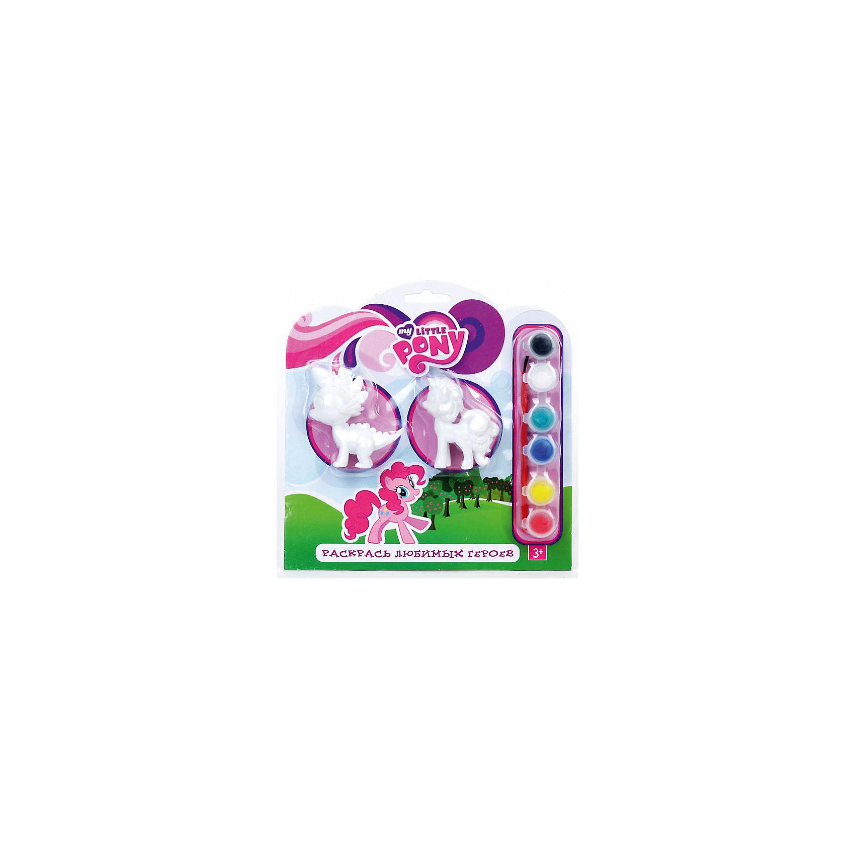 Набор для раскрашивания фигурок, My little PonyНабор для раскрашивания фигурок, My little Pony (Мой маленький Пони) приведет в восторг Вашу девочку, которая обожает милых маленьких пони из популярного мультика! С набором для раскрашивания она сможет собственноручно разукрасить любимых лошадок. Для этого в наборе идут шесть ярких красок (красный, желтый, синий, зеленый, белый, черный), удобная кисточка и любимые герои – Пинки Пай и дракончик Спайк. <br><br>Комплектация: 2 фигурки, кисточка, 6 красок, инструкция<br><br>Дополнительная информация:<br>-Серия: Мой маленький Пони<br>-Вес в упаковке: 160 г<br>-Размеры в упаковке: 210х210х30 мм<br>-Материалы: гипс, краски, пластик<br><br>Творческий набор приятно порадует каждую девочку, которая самостоятельно раскрасит фигурки, изображающие ее любимых героев из популярного мультика «Мой маленький Пони».<br><br>Набор для раскрашивания фигурок, My little Pony (Мой маленький Пони) можно купить в нашем магазине.<br><br>Ширина мм: 210<br>Глубина мм: 210<br>Высота мм: 30<br>Вес г: 160<br>Возраст от месяцев: 36<br>Возраст до месяцев: 84<br>Пол: Женский<br>Возраст: Детский<br>SKU: 4079329