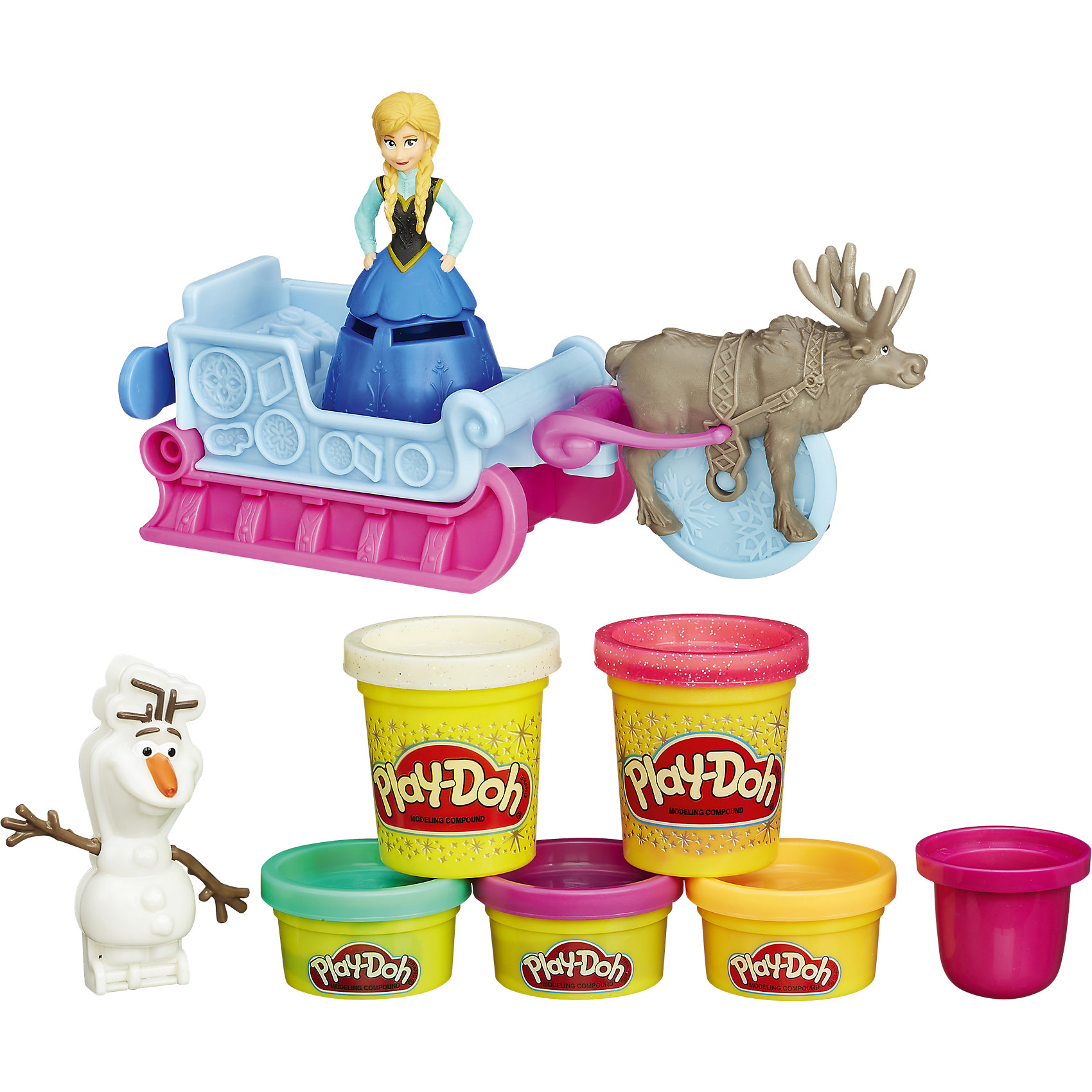 Игровой набор Приключение Анны на санях, Холодное сердце, Play-DohОтправляйся вместе с Анной в зимний поход! Но сначала сделай ей красивую теплую одежду и укрась ее. Ни одна поездка на санях не будет весёлой без Олафа, так что скорее бери складную форму и лепи снеговика. Если нажать на сани, они оставят сверкающий след из снега Play-Doh. Олень Свен может выпрягаться из саней, чтобы помочь разрезать пластилин. А теперь - вперед, к веселым морозным приключениям! <br>Пластилин Play-Doh (Плей До) - уникальный материал для детского творчества. Он не прилипает к рукам, окрашен безопасным красителем, быстро высыхает и не имеет запаха. Пластилин сделан на основе натуральных съедобных продуктов, поэтому даже если ребенок проглотит его, ничего страшного не случится. <br><br>Дополнительная информация:<br><br>- Материал: пластик, пластилин.<br>- Размер упаковки: 21х20х6 см.<br>- Комплектация: 3 мини-баночки блестящего пластилина, 2 баночки пластилина, сани, стек, фигурка Эльзы, фигурка Свена, форма для Олафа.<br><br>Игровой набор Приключение Анны на санях, Холодное сердце Frozen), Play-Doh, можно купить в нашем магазине.<br><br>Ширина мм: 310<br>Глубина мм: 228<br>Высота мм: 63<br>Вес г: 571<br>Возраст от месяцев: 36<br>Возраст до месяцев: 72<br>Пол: Женский<br>Возраст: Детский<br>SKU: 4079487