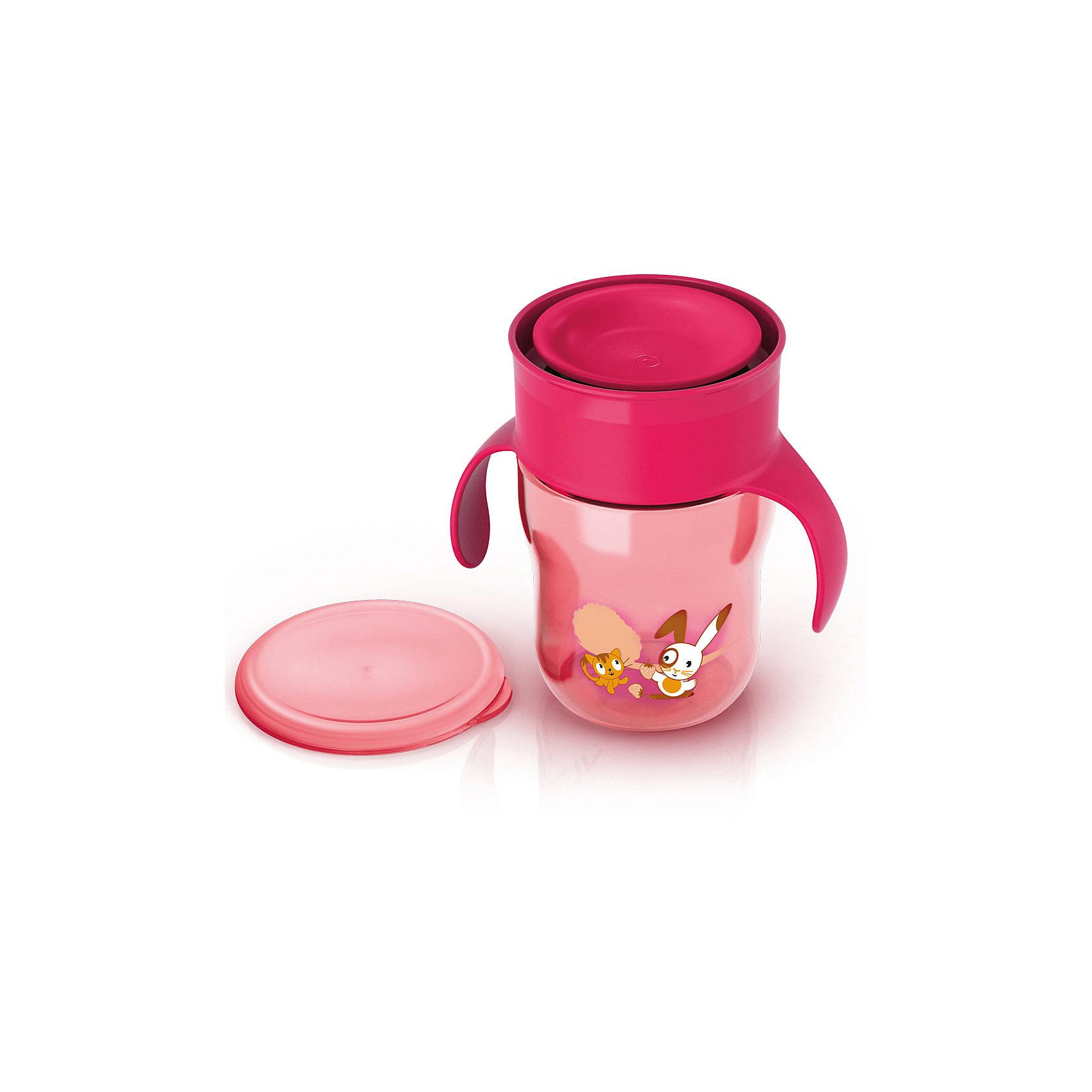 Поильник-чашка 260мл,  AVENT, розовыйПоильник-чашка 260мл - инновационная чашка от Philips AVENT (Авент), которая поможет Вашему малышу легко и играючи перейти на использование обычной чашки без носика и трубочки. Кроме того, кружка-поильник удобна для использования в транспорте  и позволит сохранить в чистоте одежду малыша и салон автомобиля.<br>Уникальный клапан с защитой от протекания — передовое решение, специально разработанное экспертами Philips AVENT (Авент). Клапан реагирует на прикосновение губ, обеспечивая удобство питья для ребенка и исключая проливание напитка.<br>Обучающие ручки приучают малыша держать чашку и пить без посторонней помощи.<br>Дополнительная информация:<br>- В  комплекте кружка-поильник с защитным клапаном и обучающими ручками, крышка - 1 шт.<br>- Клапан с быстрым потоком позволяет малышу пить, не прилагая лишних усилий, не всасывая жидкость. Идеально для малышей старше года.<br>- Не содержит бисфенол-А.<br>- Можно мыть в посудомоечной машине.<br>- Кружка-поильник не предназначена для приготовления пищи, а также  для горячих и шипучих напитков.<br>Поильник-чашку 260мл,  AVENT в розовом цвете можно купить в нашем интернет-магазине.<br><br>Ширина мм: 150<br>Глубина мм: 70<br>Высота мм: 70<br>Вес г: 250<br>Возраст от месяцев: 12<br>Возраст до месяцев: 36<br>Пол: Женский<br>Возраст: Детский<br>SKU: 4079879