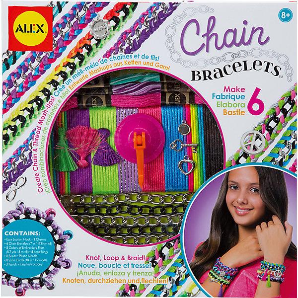 Набор для создания браслетов Цепочки и пряжа, ALEXНаборы для создания украшений<br>Теперь красивые браслеты можно не только купить, но и сделать своими руками! Набор для создания браслетов Цепочки и пряжа от ALEX создан для ярких девчонок, которые не боятся экспериментировать! Браслеты выполняются на основе стильных цепочек: можно обматывать их пряжей или плести на цепочках косички. Благодаря крючку-держателю плести браслеты будет еще удобнее. Девочка обязательно увлечется созданием украшений! В наборе Цепочки и пряжа столько интересных аксессуаров, что получившиеся браслеты девочка будет с удовольствием носить или подарит подругам! Набор стильно оформлен, поэтому отлично подойдет для подарка!<br><br>Дополнительная информация:<br><br>- Позволит создать шесть замечательных браслетов;<br>- В комплекте: 6 металлических цепочек черного и золотого цвета, нитки мулине 8 цветов, 8 атласных разноцветных шнурков, 3 подвески, 3 кисточки, 8 бусин, соединительные колечки, крючок-держатель, инструкции;<br>- Отличный подарок;<br>- Размер упаковки: 25,4 х 3,2 х 12,7 см;<br>- Вес: 450 г<br><br>Набор для создания браслетов Цепочки и пряжа, ALEX можно купить в нашем интернет-магазине.<br><br>Ширина мм: 229<br>Глубина мм: 51<br>Высота мм: 229<br>Вес г: 380<br>Возраст от месяцев: 96<br>Возраст до месяцев: 168<br>Пол: Женский<br>Возраст: Детский<br>SKU: 4080874