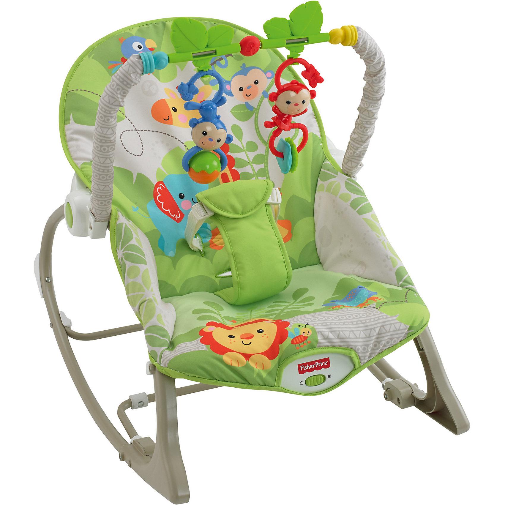 Mattel Портативное кресло-качалка Веселые обезьянки из тропического леса, Fisher-price
