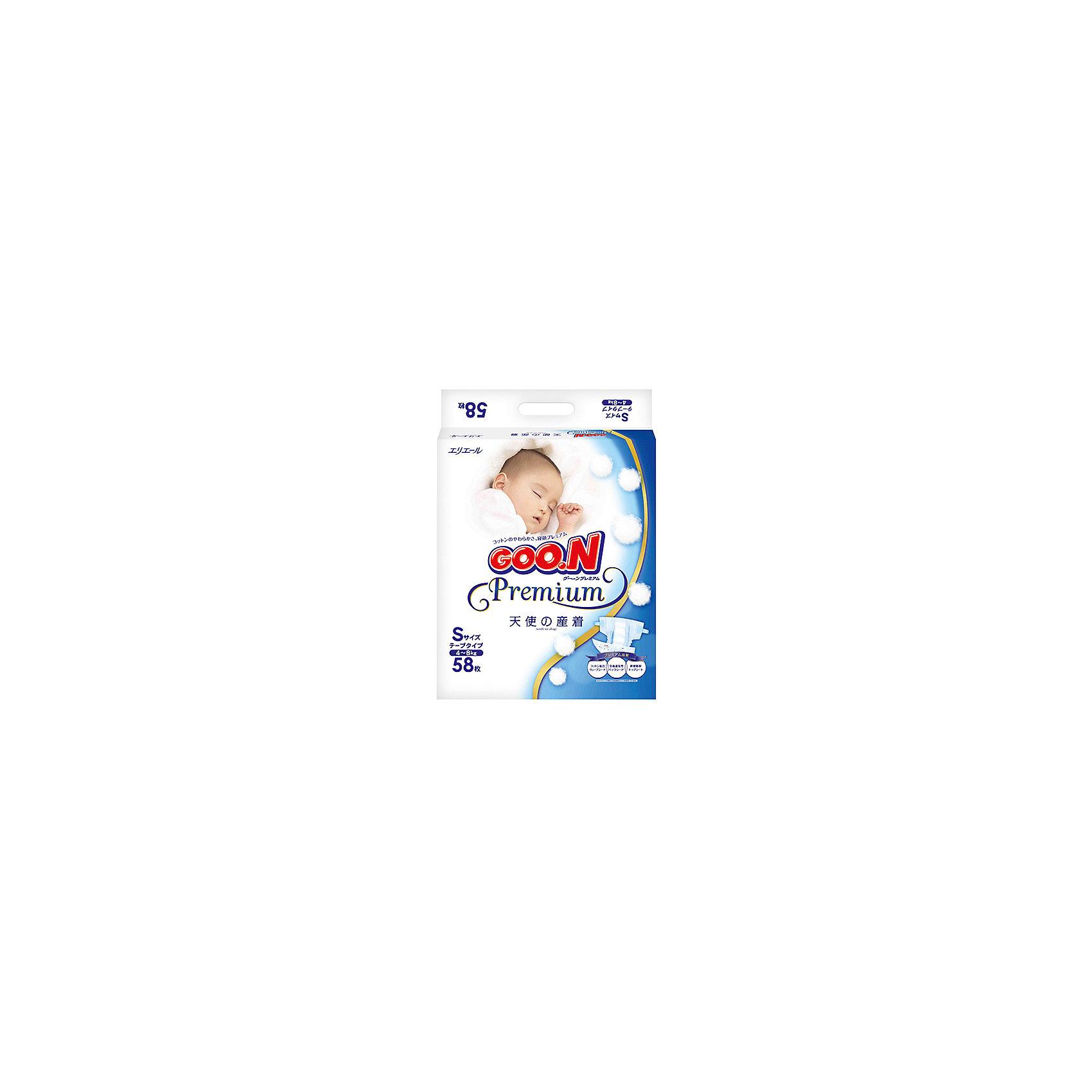 Подгузники Goon Premium, S 4-8 кг, 58шт