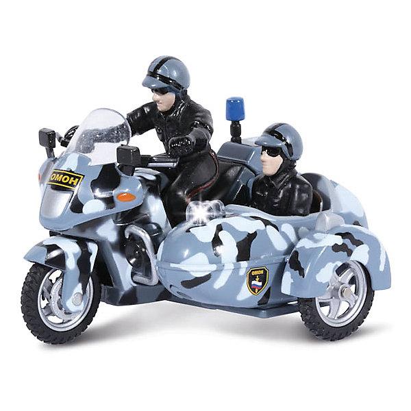 Мотоцикл с люлькой ОМОН, свет, звукМашинки<br>Коллекционная модель мотоцикла с люлькой ОМОН от ТЕХНОПАРК сделает игры ребенка еще более увлекательными. Мотоцикл с фигурками отлично детализирован и оснащен звуковыми и световыми эффектами. Модель мотоцикла с люлькой ОМОН оснащена инерционным механизмом. Чтобы привести инерционный механизм в действие, откатите машинку назад, держа ее за крышу и чуть надавливая на нее, а затем отпустите. <br>Дополнительная информация:<br><br>- В комплекте: мотоцикл с люлькой, фигурки;<br>- Масштаб: 1:43;<br>- Прекрасная детализация;<br>- Реалистичные световые и звуковые эффекты;<br>- Материал: металл, пластик;<br>- Цвет: камуфляж;<br>- Размер упаковки: 15х9х15 см;<br>- Вес: 210 г<br><br>Мотоцикл с люлькой ОМОН, со светом и звуком, ТЕХНОПАРК можно купить в нашем интернет-магазине.<br>Ширина мм: 150; Глубина мм: 90; Высота мм: 150; Вес г: 210; Возраст от месяцев: 36; Возраст до месяцев: 144; Пол: Мужской; Возраст: Детский; SKU: 4082924;