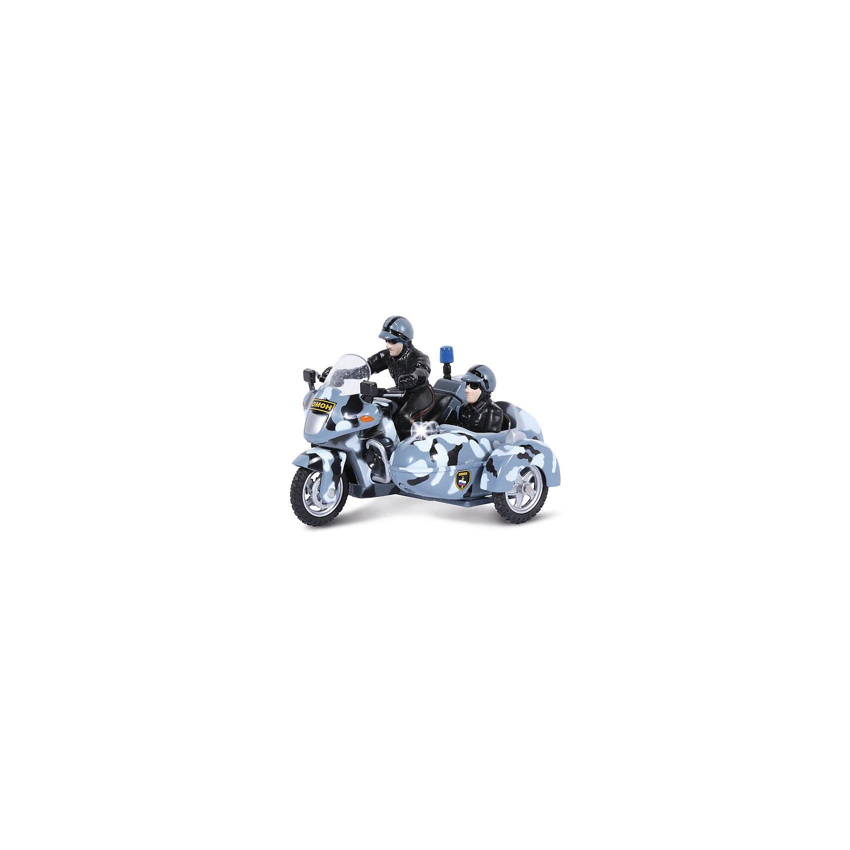 Мотоцикл с люлькой ОМОН, свет, звукКоллекционная модель мотоцикла с люлькой ОМОН от ТЕХНОПАРК сделает игры ребенка еще более увлекательными. Мотоцикл с фигурками отлично детализирован и оснащен звуковыми и световыми эффектами. Модель мотоцикла с люлькой ОМОН оснащена инерционным механизмом. Чтобы привести инерционный механизм в действие, откатите машинку назад, держа ее за крышу и чуть надавливая на нее, а затем отпустите. <br>Дополнительная информация:<br><br>- В комплекте: мотоцикл с люлькой, фигурки;<br>- Масштаб: 1:43;<br>- Прекрасная детализация;<br>- Реалистичные световые и звуковые эффекты;<br>- Материал: металл, пластик;<br>- Цвет: камуфляж;<br>- Размер упаковки: 15х9х15 см;<br>- Вес: 210 г<br><br>Мотоцикл с люлькой ОМОН, со светом и звуком, ТЕХНОПАРК можно купить в нашем интернет-магазине.<br><br>Ширина мм: 150<br>Глубина мм: 90<br>Высота мм: 150<br>Вес г: 210<br>Возраст от месяцев: 36<br>Возраст до месяцев: 144<br>Пол: Мужской<br>Возраст: Детский<br>SKU: 4082924