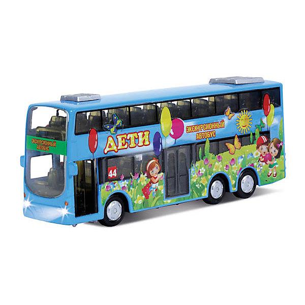 Двухэтажный автобус Дети, со светом и звуком, ТЕХНОПАРКМашинки<br>Дети обожают разыгрывать дорожные истории с участием машинок. Двухэтажный автобус Дети от ТЕХНОПАРК - станет важным участником дорожного движения. Двухэтажный автобус раскрашен в яркие жизнерадостные цвета и предназначен для веселых экскурсий. Яркий и интересный автобус Дети так и просится в коллекцию! Автобус отлично детализирован, у него открываются двери кабины и багажного отделения. Игра с автобусом будет еще интереснее, когда малыш обнаружит классные световые и звуковые эффекты. Автобус оснащен инерционным механизмом, поэтому может двигаться вперед на отличной скорости. Чтобы привести инерционный механизм в действие, откатите машинку назад, держа ее за крышу и чуть надавливая на нее, а затем отпустите. Родителей особенно порадуют обрезиненные колеса, которые не испортят напольное покрытие. Двухэтажный автобус Дети от ТЕХНОПАРК - отличное дополнение для коллекции машинок ребенка.  <br><br>Дополнительная информация:<br><br>- Прекрасная детализация;<br>- Реалистичные световые и звуковые эффекты;<br>- Батарейки в комплекте;<br>- Материал: металл, пластик;<br>- Яркий дизайн;<br>- Размер упаковки: 22 х 5 х 15 см;<br>- Вес: 280 г<br><br>Двухэтажный автобус Дети, со светом и звуком, ТЕХНОПАРК можно купить в нашем интернет-магазине.<br>Ширина мм: 220; Глубина мм: 50; Высота мм: 150; Вес г: 280; Возраст от месяцев: 36; Возраст до месяцев: 144; Пол: Мужской; Возраст: Детский; SKU: 4082934;