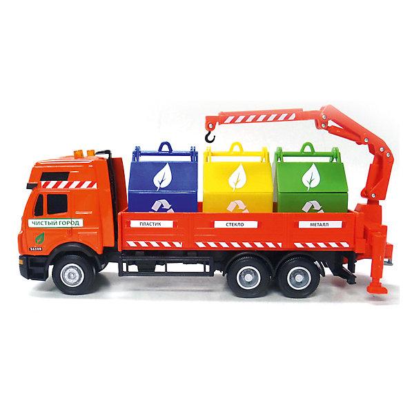 Машина Мусоровоз , 1:40, ТЕХНОПАРКМашинки<br>Дети обожают наблюдать как работает городская техника. Реалистичные копии машинок очень увлекают детей и дают возможность проявить фантазию. Машина Мусоровоз - совершенно необходима, чтобы поддерживать порядок в городе. Модель мусоровоза оранжевого цвета отлично детализирована: у нее три больших бака для отходов и кран с крюком для перемещения баков. Кран вращается поэтому ребенок будет с интересом разгружать и загружать мусоровоз. Мусоровоз с широкими колесами отличается прочностью и долговечностью. С помощью этой замечательной игрушки Вы сможете объяснить ребенку важность сортировки мусора и защиты экологии города. Машина Мусоровоз 1:40  от ТЕХНОПАРК - отличное дополнение для коллекции машинок ребенка.  <br><br>Дополнительная информация:<br><br>- Масштаб: 1:40;<br>- Прекрасная детализация;<br>- Кран подвижный;<br>- Материал: металл, пластик;<br>- Цвет: оранжевый;<br>- Размер упаковки: 31 х 10 х 19 см;<br>- Вес: 560 г<br><br>Машину Мусоровоз , 1:40, ТЕХНОПАРК можно купить в нашем интернет-магазине.<br><br>Ширина мм: 310<br>Глубина мм: 100<br>Высота мм: 190<br>Вес г: 560<br>Возраст от месяцев: 36<br>Возраст до месяцев: 144<br>Пол: Мужской<br>Возраст: Детский<br>SKU: 4082940