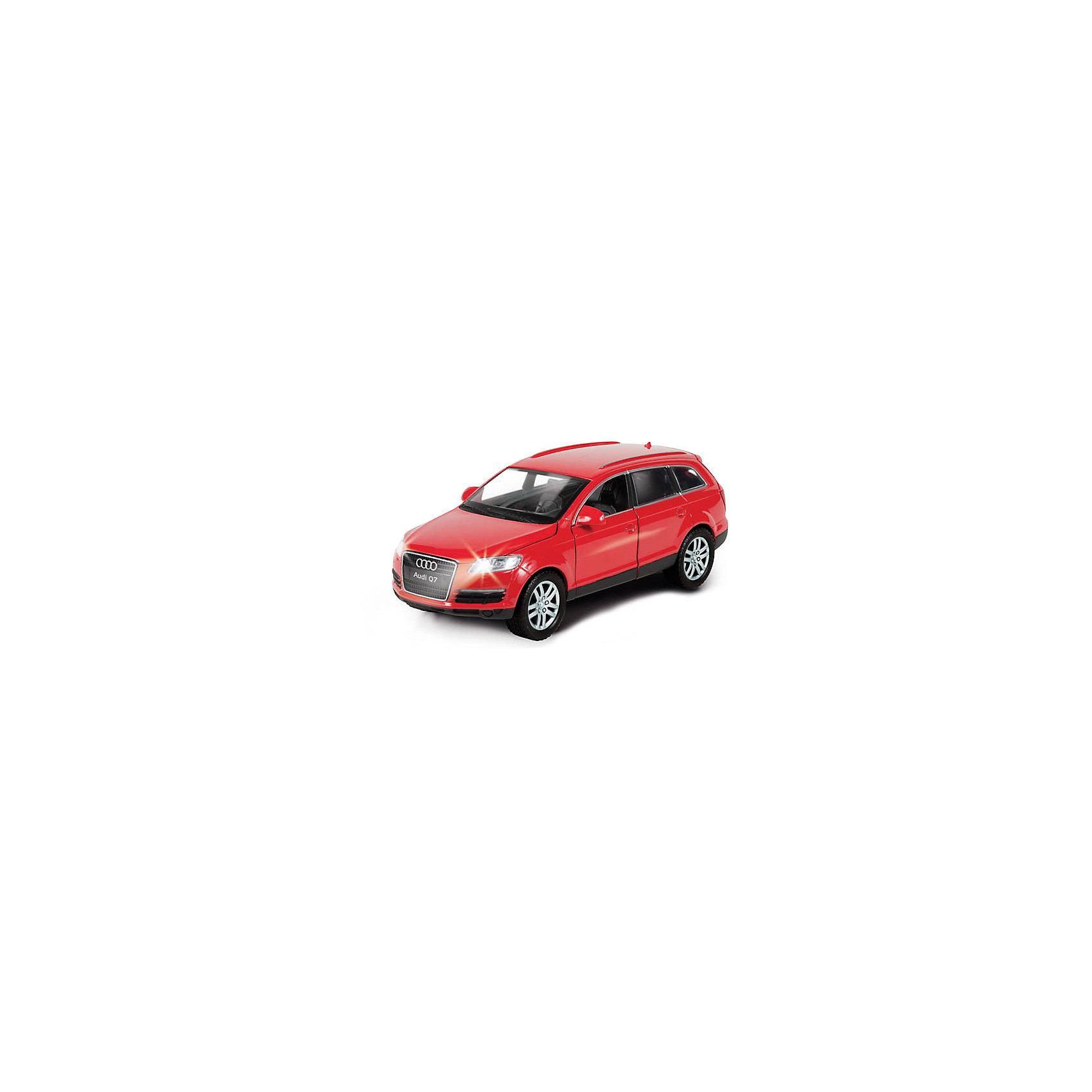 Машина Audi, со светом и звуком, ТЕХНОПАРКМашина Audi Q7 - современный мощный джип, который все мальчишки мечтают получить для своей коллекции. Машинка отлично детализирована, у нее открываются двери, багажник и капот. Можно детально рассмотреть салон. Игру сделают еще реалистичнее световые и звуковые эффекты. Модель Audi Q7 оснащена инерционным механизмом, поэтому может двигаться вперед на отличной скорости. Чтобы привести инерционный механизм в действие, откатите машинку назад, держа ее за крышу и чуть надавливая на нее, а затем отпустите. Родителей особенно порадуют широкие обрезиненные колеса, которые не испортят напольное покрытие. Машина Audi Q7 от ТЕХНОПАРК - отличное дополнение для коллекции машинок ребенка!  <br><br>Дополнительная информация:<br><br>- Прекрасная детализация;<br>- Реалистичные световые и звуковые эффекты;<br>- Материал: металл, пластик;<br>- Размер упаковки: 22 х 9 х 14 см;<br>- Вес: 400 г<br><br>Машину Audi, со светом и звуком, ТЕХНОПАРК можно купить в нашем интернет-магазине.<br><br>Ширина мм: 220<br>Глубина мм: 90<br>Высота мм: 140<br>Вес г: 400<br>Возраст от месяцев: 36<br>Возраст до месяцев: 144<br>Пол: Мужской<br>Возраст: Детский<br>SKU: 4082944
