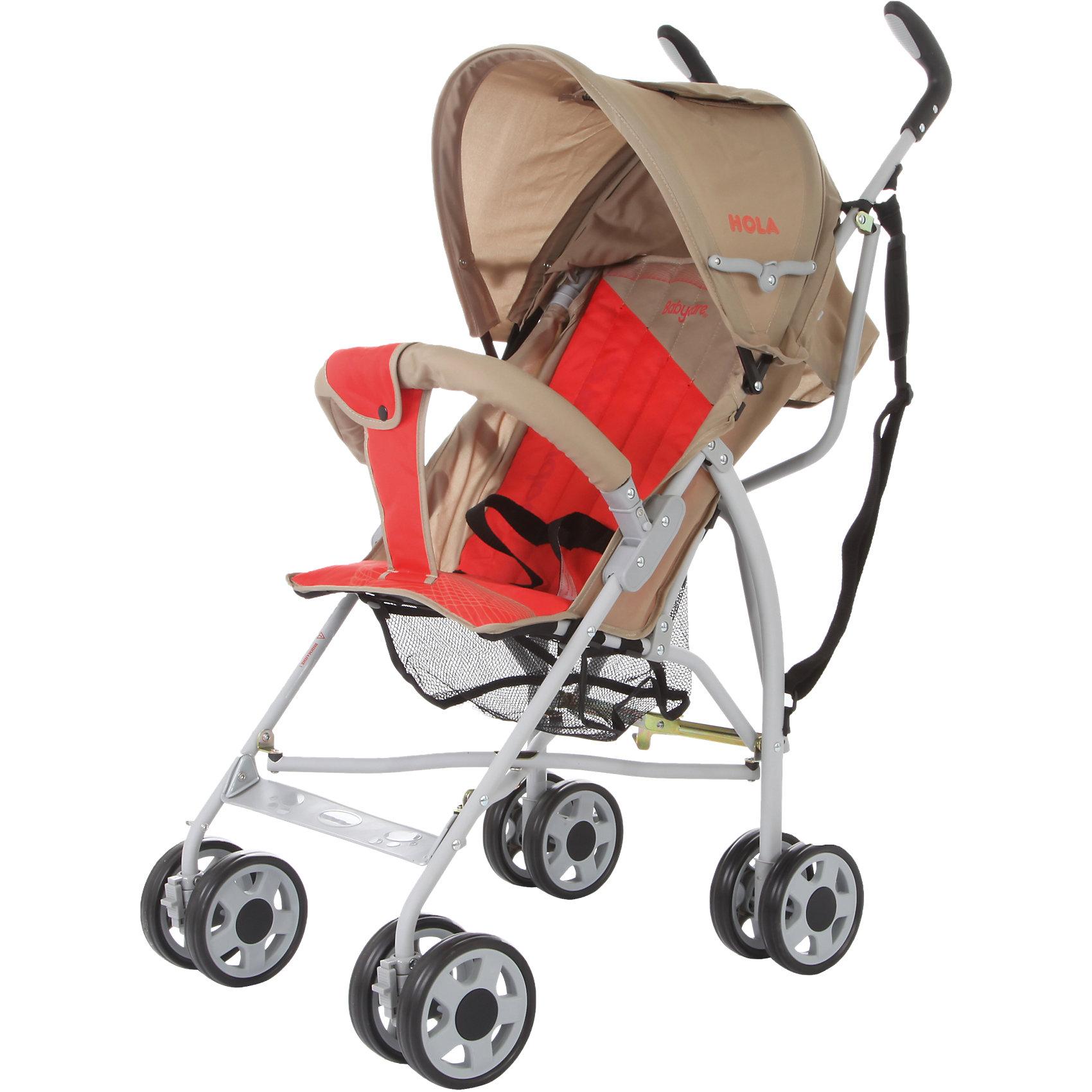 Коляска-трость Baby Care Hola, серый/красныйКоляски-трости<br>Baby Care Hola – супер легкая коляска-трость. Отличный выбор для летних прогулок или поездки на отдых. Коляска очень компактно складывается. Ее можно взять с собой на самолет, она не займет много места в автомобиле.Hola чрезвычайно маневренна. Передние колеса поворотные, но их можно фиксировать для езды по прямой. Для удобства переноски коляска оснащена плечевым ремешком. Основные преимущества коляски – сверхлегкий вес и эргономичность. Ее можно переносить мизинцем. В данной модели сохранен только необходимый функционал. Спинка может раскладываться в двух положениях, а капюшон, несмотря на небольшой размер, хорошо защищает от ультрафиолета и легких осадков. Колеса выполнены из мягкой вспененной резины (пеноплена) и прекрасно гасят вибрации.<br><br>Дополнительная информация:<br><br>Размеры в сложенном виде - 24x87x23 см<br>Размеры упаковки - 107x25x30 см<br>Ширина колесной базы - 45 см.<br>Размеры: ширина сидения – 30 см, глубина сидения – 21 см, высота спинки - 43 см, высота сидения от пола - 35 см, длина спального места – 65 см.<br>Вес: 5,1 кг<br>Диаметр колес: 13 см<br><br>Коляску-трость Hola, Baby Care, цвет серый/красный можно купить в нашем магазине.<br><br>Ширина мм: 1070<br>Глубина мм: 250<br>Высота мм: 300<br>Вес г: 6000<br>Возраст от месяцев: 6<br>Возраст до месяцев: 36<br>Пол: Унисекс<br>Возраст: Детский<br>SKU: 4083351
