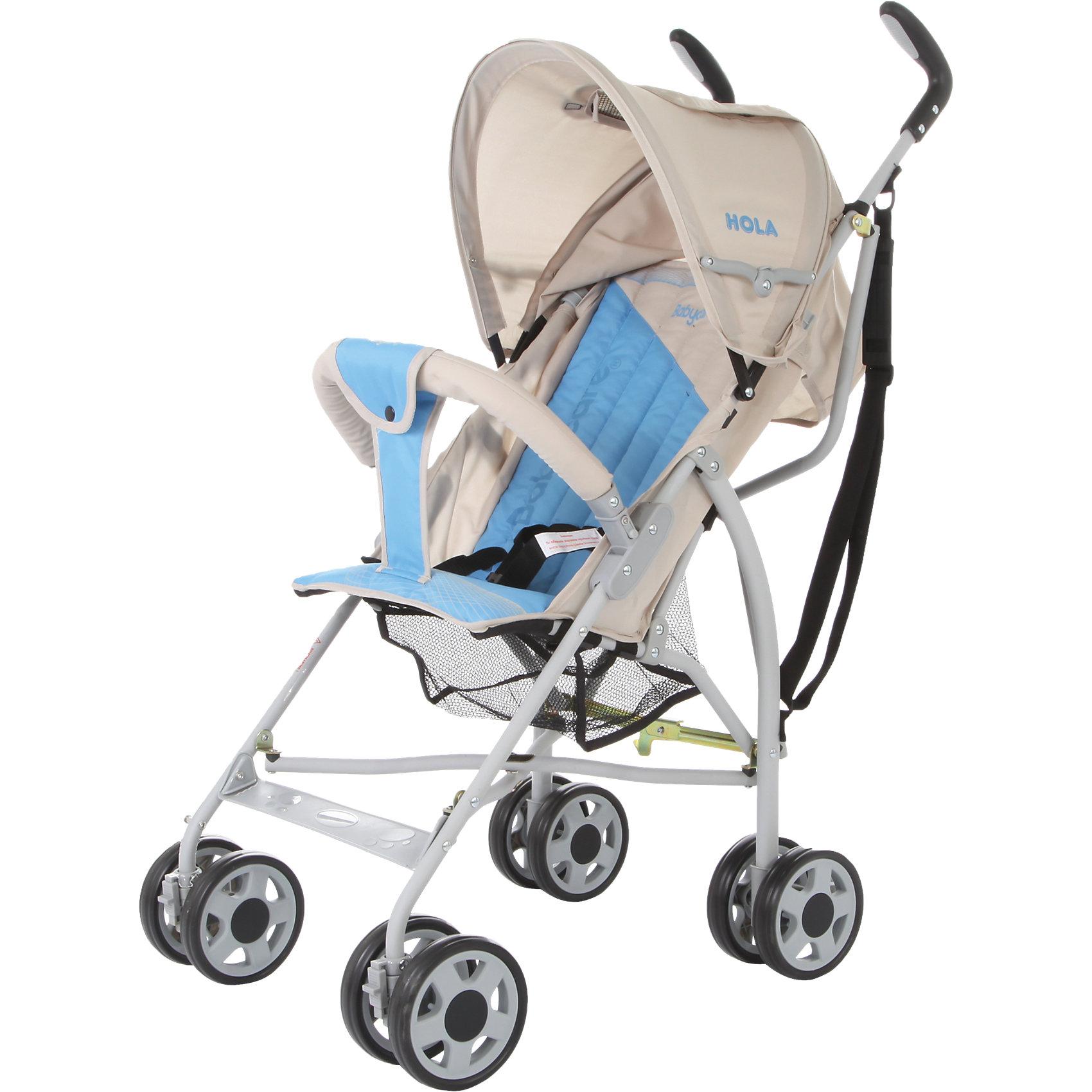 Коляска-трость Baby Care Hola, серый/голубойКоляски-трости<br>Baby Care Hola – супер легкая коляска-трость. Отличный выбор для летних прогулок или поездки на отдых. Коляска очень компактно складывается. Ее можно взять с собой на самолет, она не займет много места в автомобиле.Hola чрезвычайно маневренна. Передние колеса поворотные, но их можно фиксировать для езды по прямой. Для удобства переноски коляска оснащена плечевым ремешком. Основные преимущества коляски – сверхлегкий вес и эргономичность. Ее можно переносить мизинцем. В данной модели сохранен только необходимый функционал. Спинка может раскладываться в двух положениях, а капюшон, несмотря на небольшой размер, хорошо защищает от ультрафиолета и легких осадков. Колеса выполнены из мягкой вспененной резины (пеноплена) и прекрасно гасят вибрации.<br><br>Дополнительная информация:<br><br>Размеры в сложенном виде - 24x87x23 см<br>Размеры упаковки - 107x25x30 см<br>Ширина колесной базы - 45 см.<br>Размеры: ширина сидения – 30 см, глубина сидения – 21 см, высота спинки - 43 см, высота сидения от пола - 35 см, длина спального места – 65 см.<br>Вес: 5,1 кг<br>Диаметр колес: 13 см<br><br>Коляску-трость Hola, Baby Care, цвет серый/голубой можно купить в нашем магазине.<br><br>Ширина мм: 1070<br>Глубина мм: 250<br>Высота мм: 300<br>Вес г: 6000<br>Возраст от месяцев: 6<br>Возраст до месяцев: 36<br>Пол: Унисекс<br>Возраст: Детский<br>SKU: 4083352