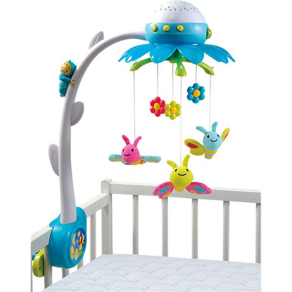 Мобиль музыкальный на кроватку Цветок, синий, SmobyИгрушки для новорожденных<br>Характеристики:<br><br>• три колыбельные мелодии;<br>• звуки природы;<br>• проектор;<br>• управление пультом ДУ;<br>• в комплекте: мобиль, пульт управления;<br>• размер: 46х57х22 см;<br>• батарейки для мобиля: АА - 3 шт. (не входят в комплект);<br>• батарейки для пульта: ААА - 2 шт. (не входят в комплект);<br>• материал: пластик, металл;<br>• размер упаковки: 40х10х35 см;<br>• вес: 800 грамм;<br>• страна производитель: Франция.<br><br>Музыкальный мобиль Цветок от популярного бренда Smoby поможет вам убаюкать или успокоить кроху. Яркие бабочки будут крутиться над малышом под приятные мелодии, чтобы ребенок чувствовал себя в безопасности.<br><br>Мобиль имеет 4 встроенные мелодии: 3 колыбельные и 1 звуки природы. Мелодии проигрываются 10-40 минут. При необходимости вы можете отключить подсветку и движение игрушки.<br><br>Проекция разноцветных бабочек и цветов на потолке привлечет внимание ребенка и успокоит его перед сном.<br><br>Мобилем можно управлять на расстоянии с пультом ДУ. Если ребенок проснется, вы сможете включить мобиль, чтобы успокоить малыша, не привлекая внимание.<br><br>Крепление на кронштейне надежно фиксирует мобиль на стенке детской кроватки. Наблюдая за игрушками, ребёнок развивает зрительное восприятие, хватательный рефлекс.<br><br>Мобиль музыкальный на кроватку Цветок, синий, Smoby (Смоби) можно купить в нашем интернет-магазине.<br>Ширина мм: 403; Глубина мм: 350; Высота мм: 73; Вес г: 1121; Возраст от месяцев: -2147483648; Возраст до месяцев: 2147483647; Пол: Унисекс; Возраст: Детский; SKU: 4083999;