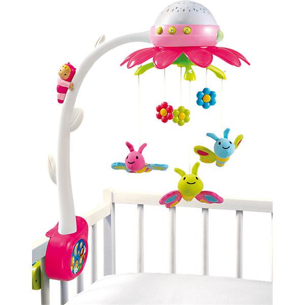 Мобиль музыкальный на кроватку Цветок, розовый, SmobyИгрушки для новорожденных<br>Характеристики:<br><br>• три колыбельные мелодии;<br>• звуки природы;<br>• проектор;<br>• управление пультом ДУ;<br>• в комплекте: мобиль, пульт управления;<br>• размер: 46х57х22 см;<br>• батарейки для мобиля: АА - 3 шт. (не входят в комплект);<br>• батарейки для пульта: ААА - 2 шт. (не входят в комплект);<br>• материал: пластик, металл;<br>• размер упаковки: 40х10х35 см;<br>• вес: 800 грамм;<br>• страна производитель: Франция.<br><br>Музыкальный мобиль Цветок от популярного бренда Smoby поможет вам убаюкать или успокоить кроху. Яркие бабочки будут крутиться над малышом под приятные мелодии, чтобы ребенок чувствовал себя в безопасности.<br><br>Мобиль имеет 4 встроенные мелодии: 3 колыбельные и 1 звуки природы. Мелодии проигрываются 10-40 минут. При необходимости вы можете отключить подсветку и движение игрушки.<br><br>Проекция разноцветных бабочек и цветов на потолке привлечет внимание ребенка и успокоит его перед сном.<br><br>Мобилем можно управлять на расстоянии с пультом ДУ. Если ребенок проснется, вы сможете включить мобиль, чтобы успокоить малыша, не привлекая внимание.<br><br>Крепление на кронштейне надежно фиксирует мобиль на стенке детской кроватки. Наблюдая за игрушками, ребёнок развивает зрительное восприятие, хватательный рефлекс.<br><br>Мобиль музыкальный на кроватку Цветок, розовый, Smoby (Смоби) можно купить в нашем интернет-магазине.<br>Ширина мм: 408; Глубина мм: 357; Высота мм: 78; Вес г: 1124; Возраст от месяцев: -2147483648; Возраст до месяцев: 2147483647; Пол: Женский; Возраст: Детский; SKU: 4084000;