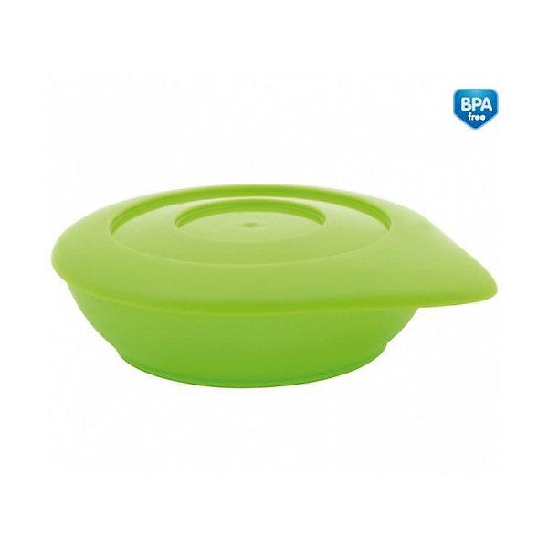 Тарелка с крышкой, Canpol Babies, зеленыйДетские тарелки<br>Миска с крышкой  - замечательный выбор для удобного кормления, а также хранения еды.<br>Она обладает такими преимуществами:<br>- благодаря специальной форме тарелку легко держать во время кормления;<br>- тарелка оснащена мягкой и гибкой крышкой, которая позволяет дольше сохранять температуру еды;<br>- крышка имеет специальную фигурную поверхность, благодаря которой тарелочки, размещенные одна на другой, не скользят.<br>Детская тарелка пригодна к замораживанию, использованию в микроволновой печи и посудомоечной машине.<br>Доступна в 3 цветах: голубой, салатовый, красный.<br>Не содержит Бисфенол-А. Рекомендована от 5 месяцев.<br><br>Тарелку с крышкой, Canpol Babies, зеленый можно купить в нашем магазине.<br>Ширина мм: 42; Глубина мм: 130; Высота мм: 155; Вес г: 69; Возраст от месяцев: 5; Возраст до месяцев: 36; Пол: Унисекс; Возраст: Детский; SKU: 4086662;
