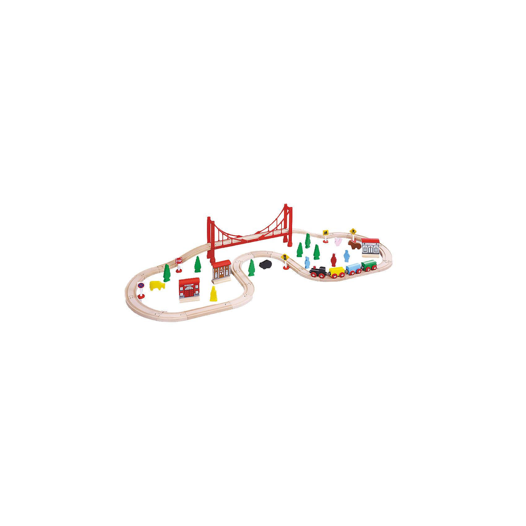 Деревянная железная дорога-076, ROYSДеревянная железная дорога-076, ROYS (РОЙС) – этот набор, сочетающий в себе множество вариантов для игры надолго займет внимание ребенка.<br>Набор состоит из полотна деревянной железной дороги с подвесным мостом, очаровательного паровозика с тремя вагонами разных цветов. Вагоны сцепляются при помощи магнитов, что очень удобно для маленьких детей. Паровозик и вагоны оснащены колесиками и без трудов входят в любой поворот. В набор также есть три элемента в виде зданий, фигурки в виде знаков, людей, деревьев и животных, что позволит детям создавать свое собственное игровое пространство. Железная дорога очень надежна и проста в сборке. Элементы набора изготовлены из дерева натуральных пород, окрашены нетоксичной краской. Качественное натуральное дерево не содержит шероховатостей или заусениц, что исключает повреждения ручек вашего ребенка при активной игре. Все детали специально изготавливаются с закругленными краями. Эта железная дорога позволит ребенку не только получать удовольствие от игры, но и развивать мелкую моторику, внимание и фантазию. Все наборы ROYS (РОЙС) совместимы между собой, можно собирать целые города со своими вокзалами, гаванью, мостами и пещерами.<br><br>Дополнительная информация:<br><br>- Комплектация: 1 паровоз, 3 вагона, 1 сборный подвесной мост, 22 секций железной дороги, 3 здания, 5 дорожных знаков, 4 фигурки животных, 4 фигурки людей, 6 фигурок деревьев, инструкция<br>- Количество деталей: 56<br>- Общая длина пути: 310 см.<br>- Материал: дерево<br>- Размер упаковки: 390х65х210 мм.<br>- Вес: 2100 гр.<br><br>Деревянную железную дорогу-076, ROYS (РОЙС) можно купить в нашем интернет-магазине.<br><br>Ширина мм: 390<br>Глубина мм: 65<br>Высота мм: 210<br>Вес г: 2100<br>Возраст от месяцев: 36<br>Возраст до месяцев: 168<br>Пол: Унисекс<br>Возраст: Детский<br>SKU: 4086666