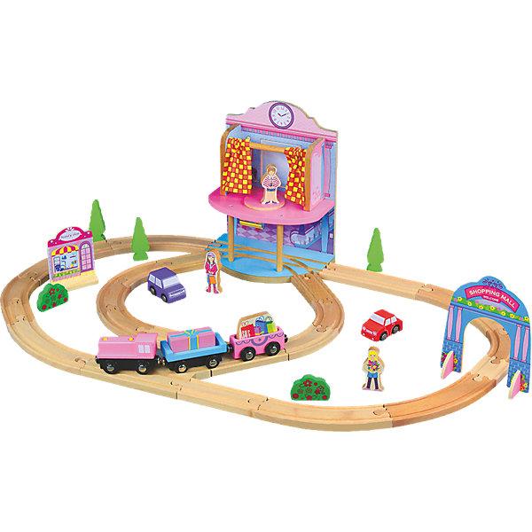 Деревянная железная дорога. Кукольный паравозик, ROYSЖелезные дороги<br>Деревянная железная дорога. Кукольный паровозик, ROYS (РОЙС) – этот набор выполнен в нежных розово-фиолетовых цветах и создан для девочек.<br>Этот деревянный набор железной дороги ROYS является имитацией торгового района, на территории которого располагается большой торговый центр и небольшой магазинчик. Юные модницы, играя в кукольную железную дорогу от ROYS, могут привезти фигурки девочек на машинках, а доставкой их покупок займется миловидный паровозик с грузовыми вагонами. Вагоны сцепляются при помощи магнитов, что очень удобно для маленьких детей. Железная дорога очень надежна и проста в сборке. Элементы набора изготовлены из дерева натуральных пород, окрашены нетоксичной краской. Качественное натуральное дерево не содержит шероховатостей или заусениц, что исключает повреждения ручек вашего ребенка при активной игре. Все детали специально изготавливаются с закругленными краями. Эта железная дорога позволит ребенку не только получать удовольствие от игры, но и развивать мелкую моторику, внимание и фантазию. Все наборы ROYS (РОЙС) совместимы между собой, можно собирать целые города со своими вокзалами, гаванью, мостами и пещерами.<br><br>Дополнительная информация:<br><br>- Комплектация: 19 секций железной дороги, локомотив, 2 грузовых вагона с грузами, арка, двухэтажный магазин с примерочной, здание, 3 фигурки человека, 2 автомобиля, 3 дерева, 2 клумбы, инструкция<br>- Количество деталей: 36<br>- Общая длина пути: 305 см.<br>- Материал: дерево<br>- Размер упаковки: 370х60х235 мм.<br>- Вес: 3700 гр.<br><br>Деревянную железную дорогу. Кукольный паровозик, ROYS (РОЙС) можно купить в нашем интернет-магазине.<br><br>Ширина мм: 370<br>Глубина мм: 60<br>Высота мм: 235<br>Вес г: 3700<br>Возраст от месяцев: 36<br>Возраст до месяцев: 168<br>Пол: Унисекс<br>Возраст: Детский<br>SKU: 4086672
