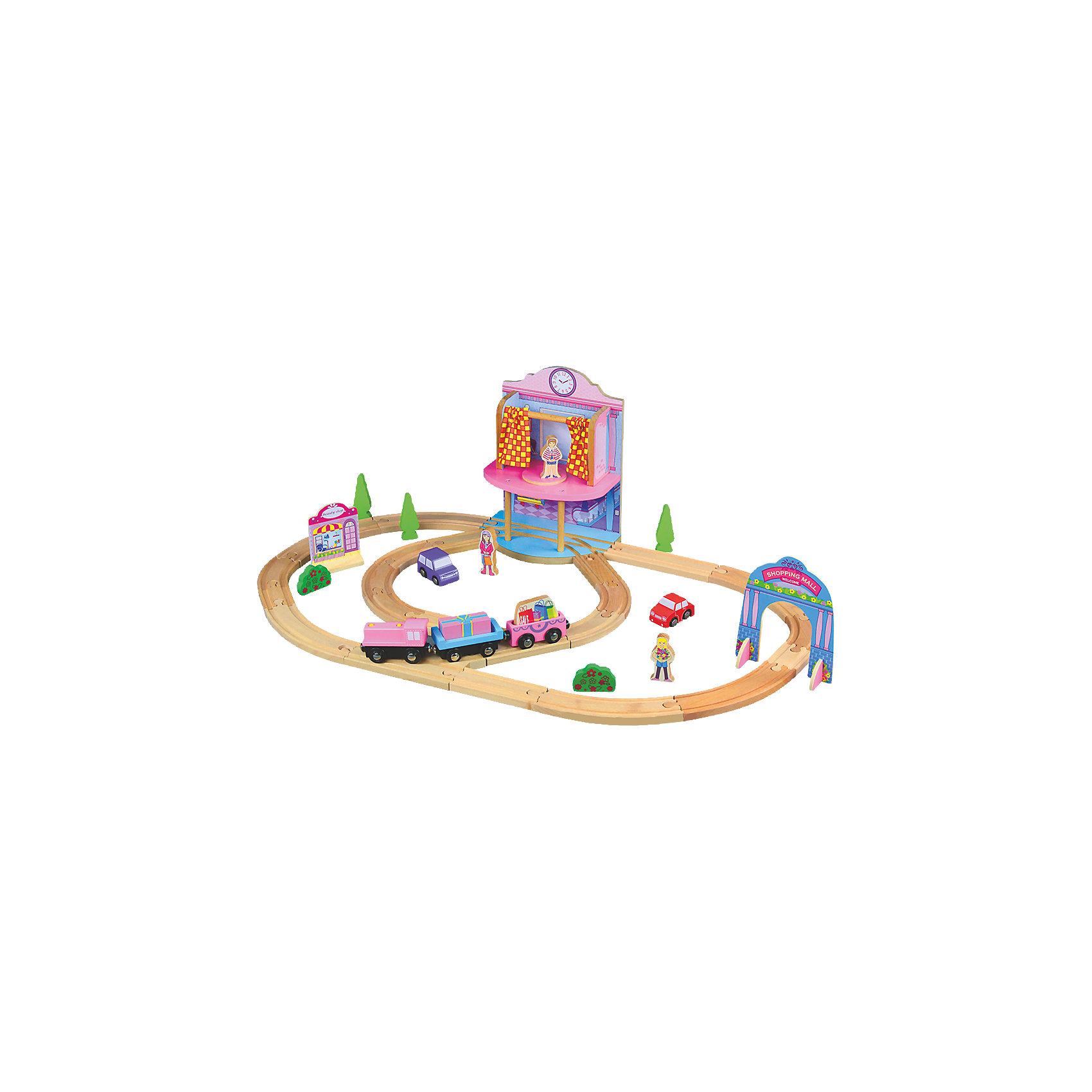 Деревянная железная дорога. Кукольный паравозик, ROYSДеревянная железная дорога. Кукольный паровозик, ROYS (РОЙС) – этот набор выполнен в нежных розово-фиолетовых цветах и создан для девочек.<br>Этот деревянный набор железной дороги ROYS является имитацией торгового района, на территории которого располагается большой торговый центр и небольшой магазинчик. Юные модницы, играя в кукольную железную дорогу от ROYS, могут привезти фигурки девочек на машинках, а доставкой их покупок займется миловидный паровозик с грузовыми вагонами. Вагоны сцепляются при помощи магнитов, что очень удобно для маленьких детей. Железная дорога очень надежна и проста в сборке. Элементы набора изготовлены из дерева натуральных пород, окрашены нетоксичной краской. Качественное натуральное дерево не содержит шероховатостей или заусениц, что исключает повреждения ручек вашего ребенка при активной игре. Все детали специально изготавливаются с закругленными краями. Эта железная дорога позволит ребенку не только получать удовольствие от игры, но и развивать мелкую моторику, внимание и фантазию. Все наборы ROYS (РОЙС) совместимы между собой, можно собирать целые города со своими вокзалами, гаванью, мостами и пещерами.<br><br>Дополнительная информация:<br><br>- Комплектация: 19 секций железной дороги, локомотив, 2 грузовых вагона с грузами, арка, двухэтажный магазин с примерочной, здание, 3 фигурки человека, 2 автомобиля, 3 дерева, 2 клумбы, инструкция<br>- Количество деталей: 36<br>- Общая длина пути: 305 см.<br>- Материал: дерево<br>- Размер упаковки: 370х60х235 мм.<br>- Вес: 3700 гр.<br><br>Деревянную железную дорогу. Кукольный паровозик, ROYS (РОЙС) можно купить в нашем интернет-магазине.<br><br>Ширина мм: 370<br>Глубина мм: 60<br>Высота мм: 235<br>Вес г: 3700<br>Возраст от месяцев: 36<br>Возраст до месяцев: 168<br>Пол: Унисекс<br>Возраст: Детский<br>SKU: 4086672