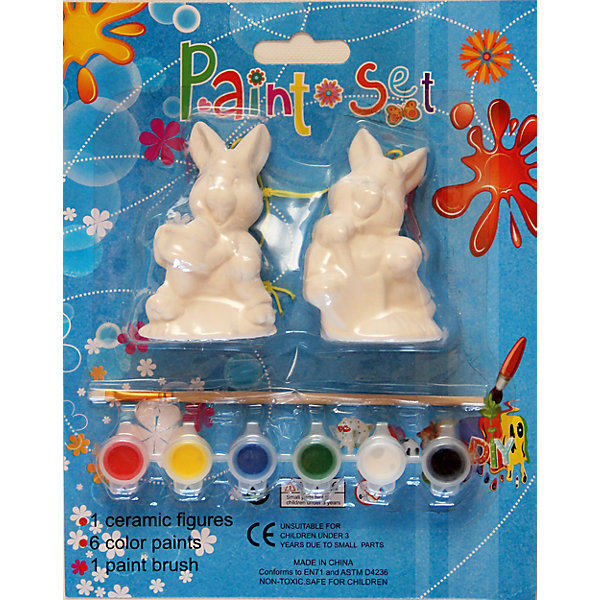 Набор для творчества ЗайцыНаборы для раскрашивания<br>Набор для творчества Зайцы станет прекрасным памятным сувениром или же символическим подарком на любой праздник.<br><br>Дополнительная информация:<br><br>- Материал: гипс, краски, пластик. <br>- Размер: 10х8х7,5 см.<br>- Комплектация: две керамические фигурки, шесть красок, кисть. <br><br>Набор для творчества Зайцы можно купить в нашем магазине.<br>Ширина мм: 100; Глубина мм: 80; Высота мм: 70; Вес г: 292; Возраст от месяцев: 36; Возраст до месяцев: 2147483647; Пол: Унисекс; Возраст: Детский; SKU: 4087281;