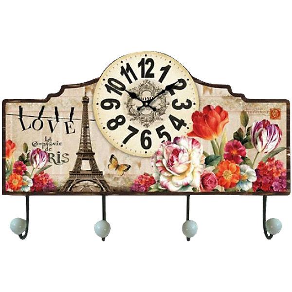 Настенные часы Весенний Париж с крючкамиДетские предметы интерьера<br>Настенные часы Весенний Париж   станут прекрасным подарком на любой праздник. Кварцевые часы с циферблатом прекрасно впишутся в любой интерьер и обязательно порадуют своего владельца. <br><br>Дополнительная информация:<br><br>- Размер: 40х28х7 см.<br>- Материал: МДФ, пластик, металл.  <br>- Без элемента питания.<br>- Кварцевые.<br>- С крючками.<br><br>Настенные часы Весенний Париж, с крючками, можно купить в нашем магазине.<br>Ширина мм: 400; Глубина мм: 280; Высота мм: 70; Вес г: 1125; Возраст от месяцев: 36; Возраст до месяцев: 2147483647; Пол: Женский; Возраст: Детский; SKU: 4087345;