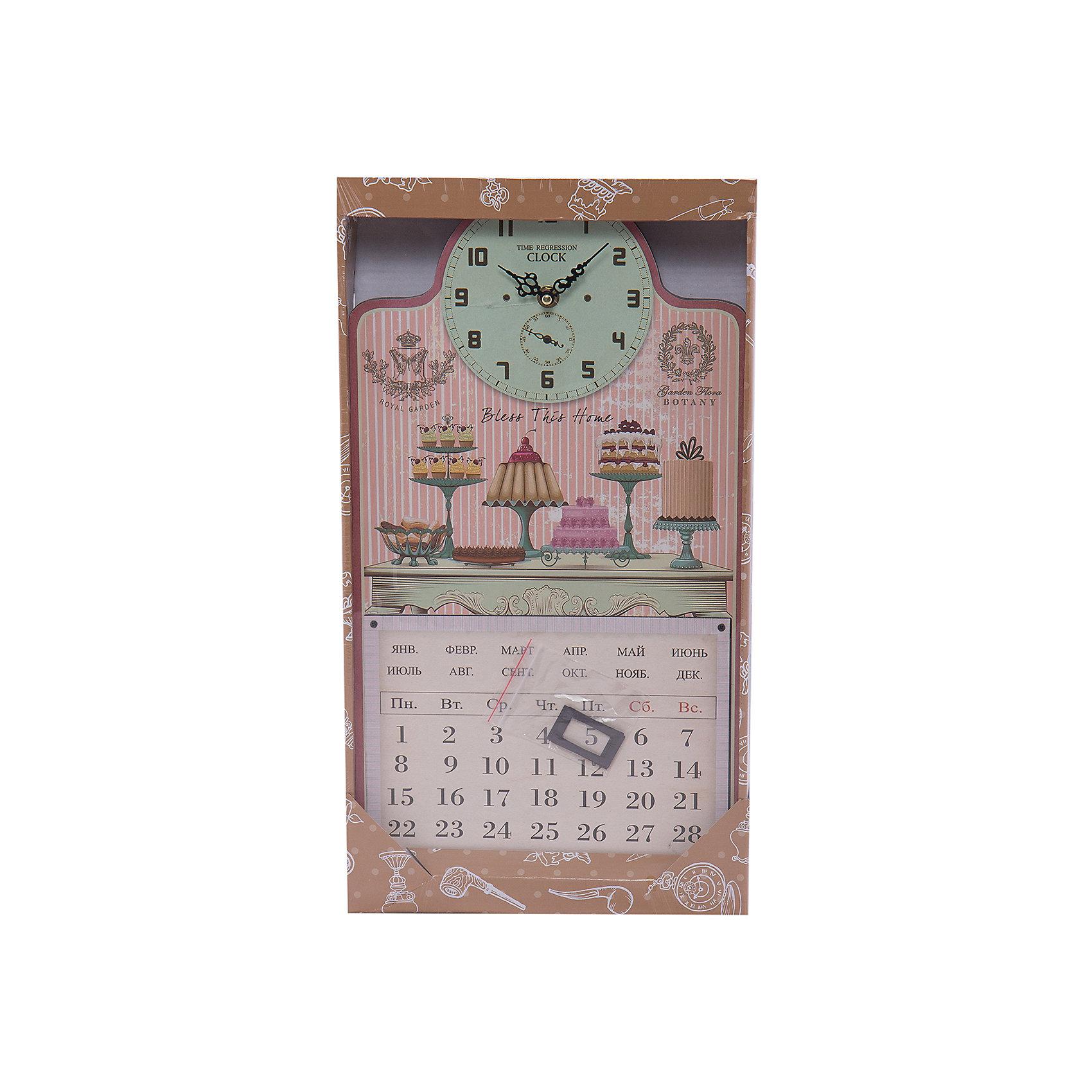 Настенные часы Тортики с календаремПредметы интерьера<br>Настенные часы Тортики   станут прекрасным подарком на любой праздник. Кварцевые часы с циферблатом прекрасно впишутся в любой интерьер и обязательно порадуют своего владельца. <br><br>Дополнительная информация:<br><br>- Размер: 24,5х46х4,5 см.<br>- Материал: МДФ, пластик, металл.  <br>- Без элемента питания.<br>- Кварцевые.<br>- С календарем (надписи на русском языке).<br><br>Настенные часы Тортики, с календарем, можно купить в нашем магазине.<br><br>Ширина мм: 240<br>Глубина мм: 460<br>Высота мм: 40<br>Вес г: 750<br>Возраст от месяцев: 36<br>Возраст до месяцев: 2147483647<br>Пол: Женский<br>Возраст: Детский<br>SKU: 4087347