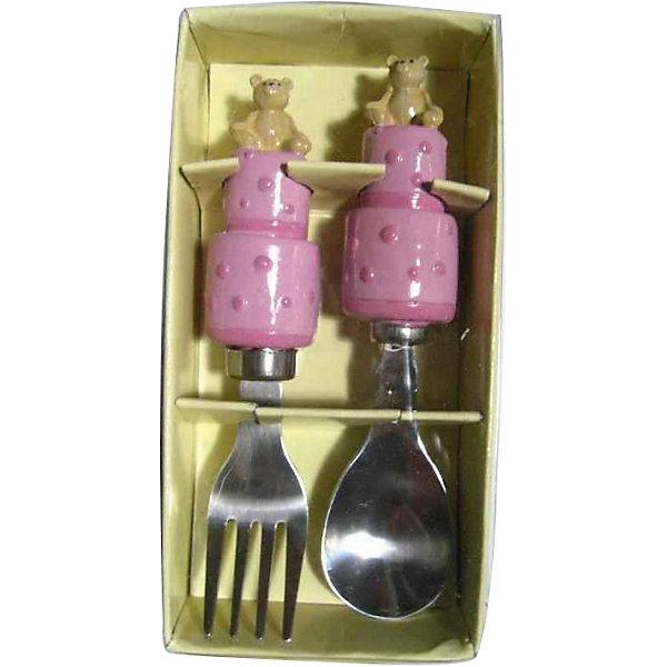 Розовый набор столовых приборов Мишки (2 предмета)Детская посуда<br>Очень милый набор для маленьких любителей покушать. Обедать, завтракать и ужинать с веселыми мишками - одно удовольствие! <br><br>Дополнительная информация:<br><br>- Материал: полирезина, нержавеющая сталь.<br>- Комплектация: ложка, вилка.<br>- Размер: 14х10х4 см. <br>- Цвет: розовый.<br><br>Розовый набор столовых приборов Мишки (2 предмета) можно купить в нашем магазине.<br><br>Ширина мм: 140<br>Глубина мм: 100<br>Высота мм: 40<br>Вес г: 114<br>Возраст от месяцев: 36<br>Возраст до месяцев: 2147483647<br>Пол: Женский<br>Возраст: Детский<br>SKU: 4087369