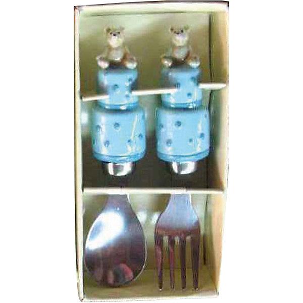 Голубой набор столовых приборов Мишки (2 предмета)Детская посуда<br>Очень милый набор для маленьких любителей покушать. Обедать, завтракать и ужинать с веселыми мишками - одно удовольствие! <br><br>Дополнительная информация:<br><br>- Материал: полирезина, нержавеющая сталь.<br>- Комплектация: ложка, вилка.<br>- Размер: 14х10х4 см. <br>- Цвет: голубой.<br><br>Голубой набор столовых приборов Мишки (2 предмета) можно купить в нашем магазине.<br><br>Ширина мм: 140<br>Глубина мм: 100<br>Высота мм: 40<br>Вес г: 114<br>Возраст от месяцев: 36<br>Возраст до месяцев: 2147483647<br>Пол: Мужской<br>Возраст: Детский<br>SKU: 4087370