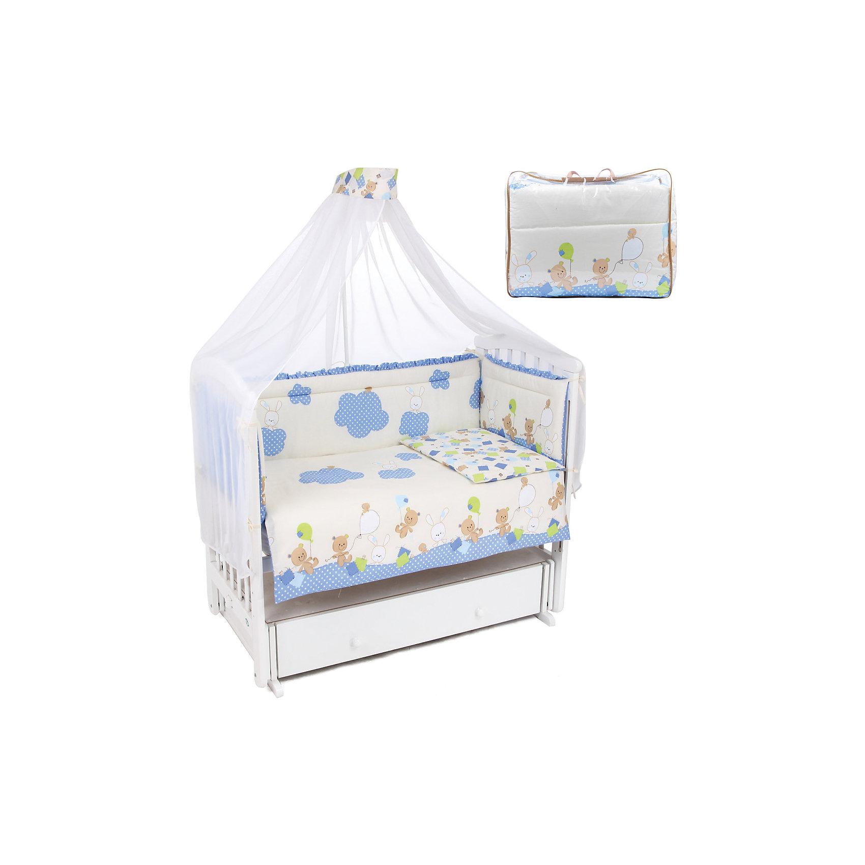 Постельное бельё Воздушные шарики, 7 пр., Leader kids, синийПостельное бельё Воздушные шарики - прекрасный вариант для кроватки малыша. Белье нежной расцветки идеально впишется в интерьер детской комнаты. Простыня на резинке подходит для всех стандартных матрасов, мягкий борт подарит крохе комфорт и безопасность, полупрозрачный балдахин создаст идеальную атмосферу для отдыха и защитит от солнечного света и насекомых. Комплект выполнен из высококачественного гипоаллергенного хлопка, легко стирается, безопасен для детей.<br><br>Дополнительная информация:<br><br>- Комплектация: борт, одеяло, подушка, балдахин (вуаль), наволочка, пододеяльник, простыня на резинке. <br>- Материал верха:  бязь (хлопок 100%), наполнитель - холлофайбер.<br>- Размер: борт - 360x40 см, одеяло - 110х140 см, подушка - 40х60см, балдахин - 420х165 см, наволочка - 40х60 см, пододеяльник - 110x140 см, простыня на резинке - 90х150 см. <br>- Цвет: синий.<br>- Декоративные элементы: принт.<br><br>Постельное бельё Воздушные шарики, 7 пр., Leader kids, синее, можно купить в нашем магазине.<br><br>Ширина мм: 570<br>Глубина мм: 200<br>Высота мм: 430<br>Вес г: 4000<br>Возраст от месяцев: 0<br>Возраст до месяцев: 36<br>Пол: Мужской<br>Возраст: Детский<br>SKU: 4087733