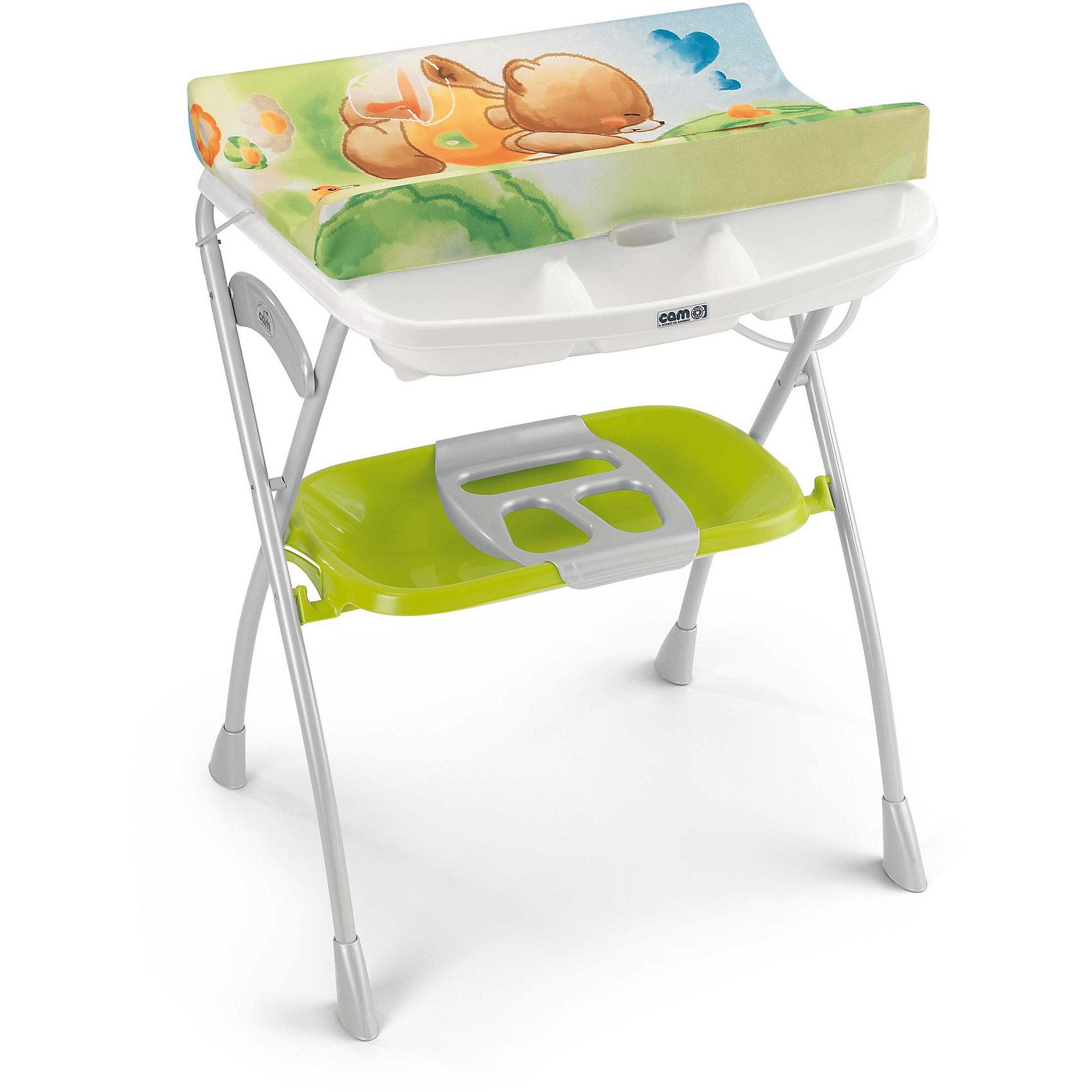 Стол для пеленания с ванночкой Volare, CAM,  мишка/зеленый