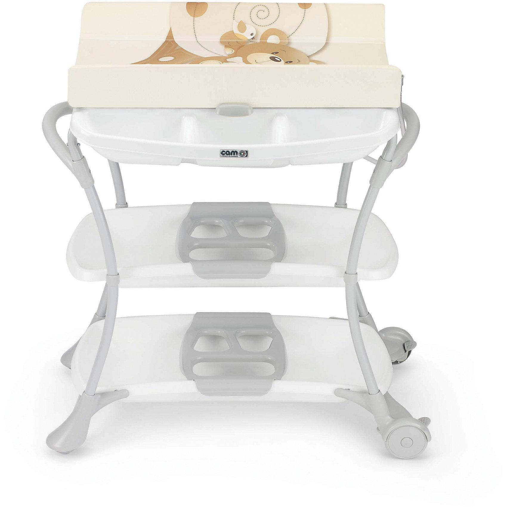 Стол для пеленания с ванночкой Nuvola Мишка, CAM, бежевый