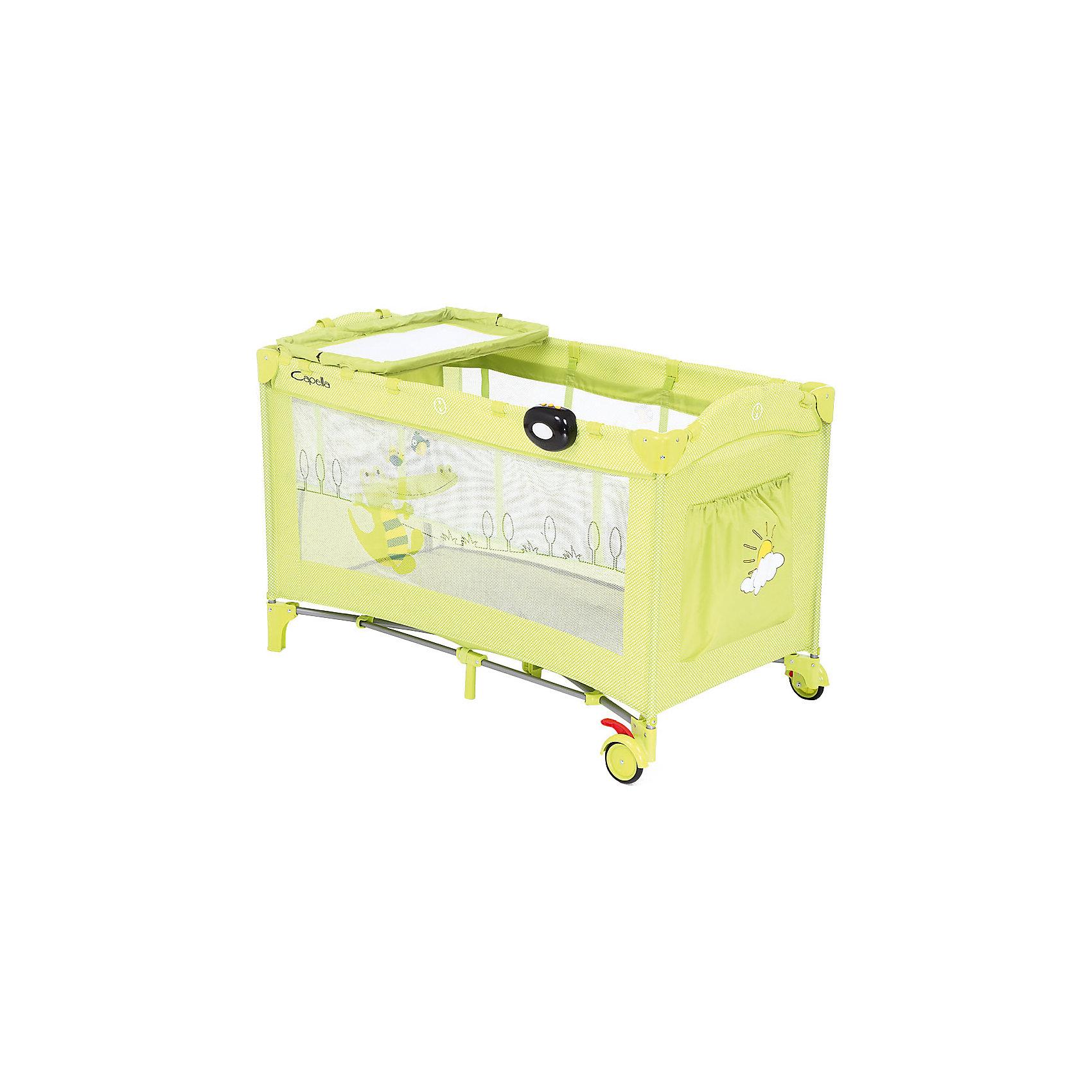 Манеж-кровать SWEET TIME, CROCODILE, Capella, зеленыйМанеж-кровать - прекрасный вариант для малышей и их родителей! Модель выполнена из безопасных гипоаллергенных материалов, стенки изготовлены из сетки, которая прекрасно пропускает воздух и защищает детей от насекомых.  Имеет надежный алюминиевый каркас, двойное дно, колесики  для удобства передвижения, пеленальный столик, карман для игрушек, боковое окошко на молнии, музыкальный блок с успокаивающими мелодиями. Модель можно использовать в качестве спального места или игровой зоны. <br><br>Дополнительная информация:<br><br>- Материал: металл, ПЭ, текстиль, пластик.<br>- Покрытие легко моется.<br>- Размер: 126 х 66 х 62<br>- Вес: 11 кг.<br>- Цвет: зеленый.<br>- Пеленальный столик<br>- Колесики.<br>- Окошко на молнии.<br>- Удобный боковой карман для игрушек.<br>- Музыкальный, вибро-блок.<br>- 2 уровня высоты.<br><br>Манеж-кровать Capella Sweet time Crocodile, зеленый , можно купить в нашем магазине.<br><br>Ширина мм: 250<br>Глубина мм: 210<br>Высота мм: 790<br>Вес г: 10650<br>Возраст от месяцев: 0<br>Возраст до месяцев: 36<br>Пол: Унисекс<br>Возраст: Детский<br>SKU: 4089156