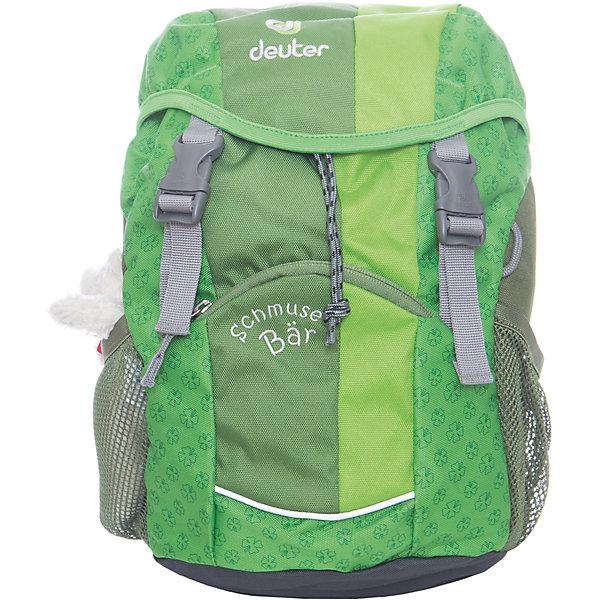 Deuter Рюкзак детский Мишка зеленыйДорожные сумки и чемоданы<br>Рюкзак Мишка, Deuter (Дойтер) - этот удобный функциональный рюкзак для маленьких путешественников будет незаменим в поездках, походах и путешествиях. Рюкзак выполнен из прочных износоустойчивых материалов. Привлекательный дизайн с зеленой расцветкой, мелким растительным рисунком и различными нашивками обязательно понравится Вашему ребенку. Кроме того, к рюкзаку прилагается приятный сюрприз - симпатичный плюшевый мишка. У рюкзака мягкая спинка с вентиляцией, S-образные плечевые лямки с мягкими краями регулируются по длине, нагрудный ремень позволяет прочно зафиксировать рюкзак на теле. Также есть удобная текстильная ручка для транспортировки. Рюкзак закрывается на удобную застежку, внутри просторное отделение, карман с прозрачным окошком и именная бирка. Также имеются два сетчатых кармана по бокам и карман с застежкой-молнией на лицевой стороне. Есть петли для подвешивания фонарика или необходимых в походе инструментов. Светоотражающие элементы на лямках и лицевом кармане повышают безопасность ребенка в непогоду и темное время суток. <br><br>Дополнительная информация:<br><br>- Материал: Super-Polytex (полиэстер).  <br>- Размер: 34 х 20 х 16 см.<br>- Объем: 8 л.<br>- Вес: 0,31 кг.<br><br>Зеленый рюкзак Мишка, Deuter (Дойтер), можно купить в нашем интернет-магазине.<br>Ширина мм: 160; Глубина мм: 200; Высота мм: 340; Вес г: 310; Возраст от месяцев: 36; Возраст до месяцев: 120; Пол: Унисекс; Возраст: Детский; SKU: 4089699;