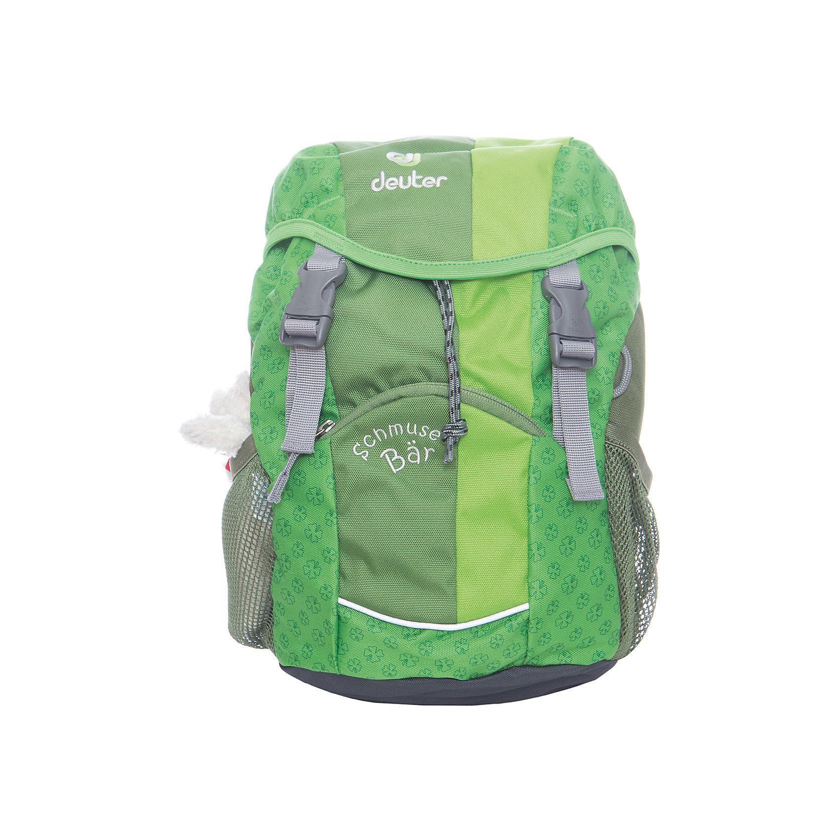 Deuter Рюкзак детский Мишка зеленыйДорожные сумки и чемоданы<br>Рюкзак Мишка, Deuter (Дойтер) - этот удобный функциональный рюкзак для маленьких путешественников будет незаменим в поездках, походах и путешествиях. Рюкзак выполнен из прочных износоустойчивых материалов. Привлекательный дизайн с зеленой расцветкой, мелким растительным рисунком и различными нашивками обязательно понравится Вашему ребенку. Кроме того, к рюкзаку прилагается приятный сюрприз - симпатичный плюшевый мишка. У рюкзака мягкая спинка с вентиляцией, S-образные плечевые лямки с мягкими краями регулируются по длине, нагрудный ремень позволяет прочно зафиксировать рюкзак на теле. Также есть удобная текстильная ручка для транспортировки. Рюкзак закрывается на удобную застежку, внутри просторное отделение, карман с прозрачным окошком и именная бирка. Также имеются два сетчатых кармана по бокам и карман с застежкой-молнией на лицевой стороне. Есть петли для подвешивания фонарика или необходимых в походе инструментов. Светоотражающие элементы на лямках и лицевом кармане повышают безопасность ребенка в непогоду и темное время суток. <br><br>Дополнительная информация:<br><br>- Материал: Super-Polytex (полиэстер).  <br>- Размер: 34 х 20 х 16 см.<br>- Объем: 8 л.<br>- Вес: 0,31 кг.<br><br>Зеленый рюкзак Мишка, Deuter (Дойтер), можно купить в нашем интернет-магазине.<br><br>Ширина мм: 160<br>Глубина мм: 200<br>Высота мм: 340<br>Вес г: 310<br>Возраст от месяцев: 36<br>Возраст до месяцев: 120<br>Пол: Унисекс<br>Возраст: Детский<br>SKU: 4089699