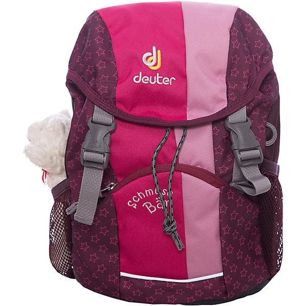 Deuter Рюкзак детский, розовый МишкаДорожные сумки и чемоданы<br>Рюкзак Мишка, Deuter (Дойтер) - этот удобный функциональный рюкзак для маленьких путешественников будет незаменим в поездках, походах и путешествиях. Рюкзак выполнен из прочных износоустойчивых материалов. Привлекательный дизайн с розовой расцветкой, мелким рисунком в виде звездочек и различными нашивками обязательно понравится Вашей девочке. Кроме того, к рюкзаку прилагается приятный сюрприз - симпатичный плюшевый мишка. У рюкзака мягкая спинка с вентиляцией, S-образные плечевые лямки с мягкими краями регулируются по длине, нагрудный ремень позволяет прочно зафиксировать рюкзак на теле. Также есть удобная текстильная ручка для транспортировки. Рюкзак закрывается на удобную застежку, внутри просторное отделение, карман с прозрачным окошком и именная бирка. Также имеются два сетчатых кармана по бокам и карман с застежкой-молнией на лицевой стороне. Есть петли для подвешивания фонарика или необходимых в походе инструментов. Светоотражающие элементы на лямках и лицевом кармане повышают безопасность ребенка в непогоду и темное время суток. <br><br>Дополнительная информация:<br><br>- Материал: Super-Polytex (полиэстер).  <br>- Размер: 34 х 20 х 16 см.<br>- Объем: 8 л.<br>- Вес: 0,31 кг.<br><br>Розовый рюкзак Мишка, Deuter (Дойтер), можно купить в нашем интернет-магазине.<br>Ширина мм: 160; Глубина мм: 200; Высота мм: 340; Вес г: 310; Возраст от месяцев: 36; Возраст до месяцев: 120; Пол: Женский; Возраст: Детский; SKU: 4089700;