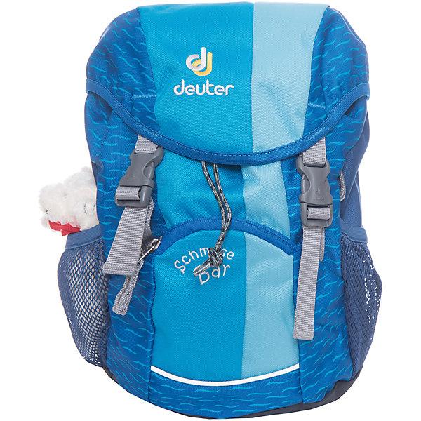 Deuter Рюкзак детский Мишка бирюзовыйДорожные сумки и чемоданы<br>Рюкзак Мишка, Deuter (Дойтер) - этот удобный функциональный рюкзак для маленьких путешественников будет незаменим в поездках, походах и путешествиях. Рюкзак выполнен из прочных износоустойчивых материалов. Привлекательный дизайн с бирюзовой расцветкой, мелким рисунком и различными нашивками обязательно понравится Вашему ребенку. Кроме того, к рюкзаку прилагается приятный сюрприз - симпатичный плюшевый мишка. У рюкзака мягкая спинка с вентиляцией, S-образные плечевые лямки с мягкими краями регулируются по длине, нагрудный ремень позволяет прочно зафиксировать рюкзак на теле. Также есть удобная текстильная ручка для транспортировки. Рюкзак закрывается на удобную застежку, внутри просторное отделение, карман с прозрачным окошком и именная бирка. Также имеются два сетчатых кармана по бокам и карман с застежкой-молнией на лицевой стороне. Есть петли для подвешивания фонарика или необходимых в походе инструментов. Светоотражающие элементы на лямках и лицевом кармане повышают безопасность ребенка в непогоду и темное время суток. <br><br>Дополнительная информация:<br><br>- Материал: Super-Polytex (полиэстер).  <br>- Размер: 34 х 20 х 16 см.<br>- Объем: 8 л.<br>- Вес: 0,31 кг.<br><br>Бирюзовый рюкзак Мишка, Deuter (Дойтер), можно купить в нашем интернет-магазине.<br><br>Ширина мм: 160<br>Глубина мм: 200<br>Высота мм: 340<br>Вес г: 310<br>Возраст от месяцев: 36<br>Возраст до месяцев: 120<br>Пол: Унисекс<br>Возраст: Детский<br>SKU: 4089701