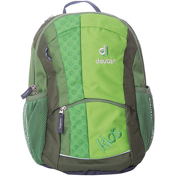 Школьный рюкзак Deuter, зеленыйДорожные сумки и чемоданы<br>Зеленый рюкзак, Deuter (Дойтер) - этот удобный функциональный рюкзак для маленьких путешественников будет незаменим в поездках, походах и путешествиях. Рюкзак выполнен из прочных износоустойчивых материалов. Привлекательный дизайн с зеленой расцветкой, мелким растительным рисунком и различными нашивками обязательно понравится Вашему ребенку. У рюкзака мягкая спинка с вентиляцией, S-образные плечевые лямки с мягкими краями регулируются по длине, нагрудный ремень позволяет прочно зафиксировать рюкзак на теле. Также есть удобная текстильная ручка для транспортировки. Рюкзак закрывается на застежку-молнию, внутри просторное отделение, карман с прозрачным окошком и именная бирка. Также имеются два сетчатых кармана по бокам, карман с застежкой-молнией на лицевой стороне и дополнительный потайной карман на молнии сверху. Есть петли для подвешивания фонарика или необходимых в походе инструментов. Светоотражающие элементы на лямках и лицевом кармане повышают безопасность ребенка в непогоду и темное время суток. <br><br>Дополнительная информация:<br><br>- Материал: Super-Polytex (полиэстер).  <br>- Размер: 36 х 20 х 18 см.<br>- Объем: 12 л.<br>- Вес: 0,32 кг.<br><br>Зеленый рюкзак Deuter (Дойтер) можно купить в нашем интернет-магазине.<br>Ширина мм: 180; Глубина мм: 200; Высота мм: 360; Вес г: 320; Возраст от месяцев: 72; Возраст до месяцев: 144; Пол: Унисекс; Возраст: Детский; SKU: 4089702;