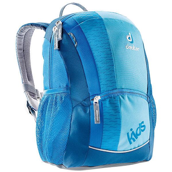 Рюкзак Deuter, бирюзовыйДорожные сумки и чемоданы<br>Бирюзовый рюкзак, Deuter (Дойтер) - этот удобный функциональный рюкзак для маленьких путешественников будет незаменим в поездках, походах и путешествиях. Рюкзак выполнен из прочных износоустойчивых материалов. Привлекательный дизайн с бирюзовой расцветкой,<br>мелким рисунком в виде волн и различными нашивками обязательно понравится Вашему ребенку. У рюкзака мягкая спинка с вентиляцией, S-образные плечевые лямки с мягкими краями регулируются по длине, нагрудный ремень позволяет прочно зафиксировать рюкзак на теле. Также есть удобная текстильная ручка для транспортировки. Рюкзак закрывается на застежку-молнию, внутри просторное отделение, карман с прозрачным окошком и именная бирка. Также имеются два сетчатых кармана по бокам, карман с застежкой-молнией на лицевой стороне и дополнительный потайной карман на молнии сверху. Есть петли для подвешивания фонарика или необходимых в походе инструментов. Светоотражающие элементы на лямках и лицевом кармане повышают безопасность ребенка в непогоду и темное время суток. <br><br>Дополнительная информация:<br><br>- Материал: Super-Polytex (полиэстер).  <br>- Размер: 36 х 20 х 18 см.<br>- Объем: 12 л.<br>- Вес: 0,32 кг.<br><br>Бирюзовый рюкзак Deuter (Дойтер) можно купить в нашем интернет-магазине.<br>Ширина мм: 180; Глубина мм: 200; Высота мм: 360; Вес г: 320; Возраст от месяцев: 72; Возраст до месяцев: 144; Пол: Унисекс; Возраст: Детский; SKU: 4089703;