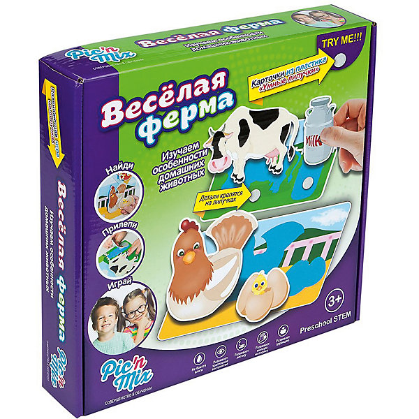 Игра Веселая ферма, PicnMixОкружающий мир<br>Если Вы хотите занять малыша чем-то увлекательным и в то же время полезным, то игра Веселая ферма, от Pic`n Mix - то, что Вы искали! В забавной игровой форме кроха легко выучит названия животных, их повадки. Расскажите малышу какие звуки издают домашние животные и он с удовольствием будет повторять за Вами. Игра выполнена из безопасных материалов и прекрасно подходит для малышей. Кроха будет с удовольствием расселять животных по ферме, приклеивая их на нужные места. Пазл-липучка Веселая ферма будет способствовать развитию логического мышления, памяти, а также мелкой моторики рук.<br><br>Дополнительная информация:<br><br>- Развивает логику, память, мелкую моторику;<br>- 8 игровых полей;<br>- Яркие цвета;<br>- Размер упаковки: 25 х 16 х 5,2 см;<br>- Вес: 300 г<br><br>Игру Веселая ферма, Pic`n Mix можно купить в нашем интернет-магазине.<br><br>Ширина мм: 250<br>Глубина мм: 160<br>Высота мм: 52<br>Вес г: 300<br>Возраст от месяцев: 18<br>Возраст до месяцев: 60<br>Пол: Унисекс<br>Возраст: Детский<br>SKU: 4089709