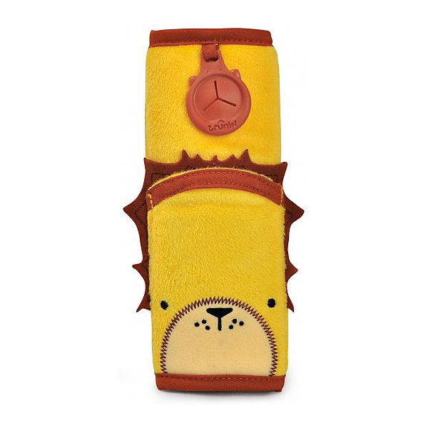 Накладка-чехол Лев для ремня безопасности в автоАксессуары для автокресел<br>Накладка-чехол для ремня безопасности от всемирно-известного производителя чемоданов и дорожных аксессуаров Trunki сделает путешествие ребенка комфортным и безопасным.<br>Накладка из мягкого приятного на ощупь материала легко закрепляется на ремне благодаря липучке и позволяет избежать трения и неприятного давления на плечи и грудь ребенка.<br>Накладка-чехол Лев выполнена в ярком желтом цвете. Вместительный карман позволяет положить внутрь мобильный телефон, MP3 плеер или любимую игрушку небольшого размера.<br>Универсальный держатель Trunki Grip позволяет закрепить одеялко или же повесить солнцезащитные детские очки.<br><br>Дополнительная информация:<br><br>Размер накладки: 18 х 7 см.<br>Размер внутреннего кармана: 10 х 7 см.<br><br>Накладку-чехол Лев для ремня безопасности в авто можно купить в нашем магазине.<br>Ширина мм: 70; Глубина мм: 10; Высота мм: 180; Вес г: 50; Возраст от месяцев: 36; Возраст до месяцев: 84; Пол: Унисекс; Возраст: Детский; SKU: 4090980;