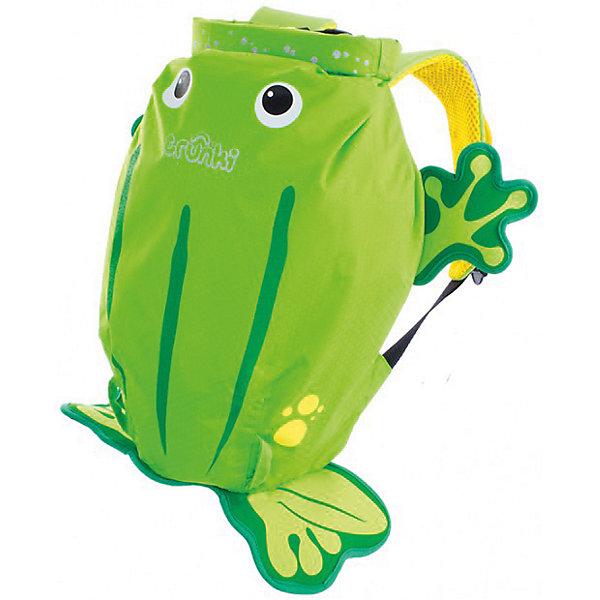 Рюкзак для бассейна и пляжа ЛягушкаДорожные сумки и чемоданы<br>Яркий стильный рюкзак для бассейна и пляжа Лягушка от мирового производителя детских чемоданов и дорожный аксессуаров Транки (Trunki) - великолепная новинка для юных путешественников!<br>Рюкзак выполнен в виде лягушки яркого салатового цвета с забавными лапками. Материал, из которого сделан рюкзак, водоотталкивающий, а это значит, что малышу не придется волноваться за то, что его вещи и любимые игрушки могут промокнуть. <br><br>Рюкзак для бассейна и пляжа оснащен специальным креплением Trunki, с помощью него можно крепить к сумке солнцезащитные очки. Рюкзак имеет светоотражающую отделку, а также карман в виде плавника, куда можно положить различные мелочи.  <br>Рюкзак Trunki – незаменимый аксессуар для мальчиков и девочек для походов в бассейн или на пляж.<br><br>Дополнительная информация:<br><br>Размер рюкзака: 49,5 х 41 см.<br>Объем: 7,5 литров.<br><br>Рюкзак для бассейна и пляжа Лягушка можно купить в нашем магазине.<br>Ширина мм: 490; Глубина мм: 410; Высота мм: 200; Вес г: 250; Возраст от месяцев: 36; Возраст до месяцев: 84; Пол: Унисекс; Возраст: Детский; SKU: 4090981;