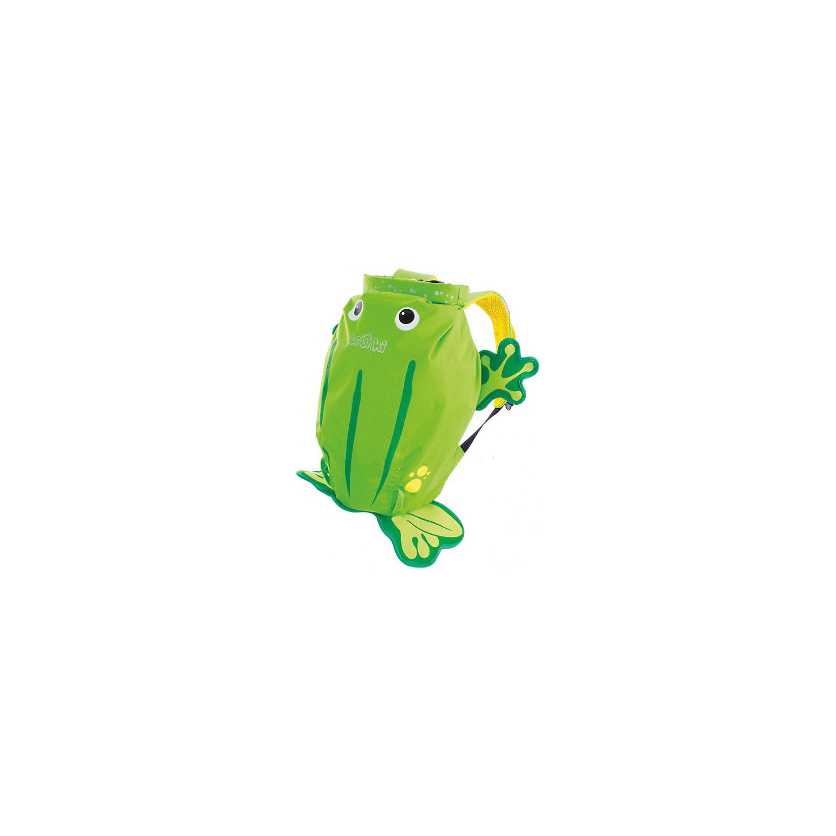 Рюкзак для бассейна и пляжа ЛягушкаКупальники и плавки<br>Яркий стильный рюкзак для бассейна и пляжа Лягушка от мирового производителя детских чемоданов и дорожный аксессуаров Транки (Trunki) - великолепная новинка для юных путешественников!<br>Рюкзак выполнен в виде лягушки яркого салатового цвета с забавными лапками. Материал, из которого сделан рюкзак, водоотталкивающий, а это значит, что малышу не придется волноваться за то, что его вещи и любимые игрушки могут промокнуть. <br><br>Рюкзак для бассейна и пляжа оснащен специальным креплением Trunki, с помощью него можно крепить к сумке солнцезащитные очки. Рюкзак имеет светоотражающую отделку, а также карман в виде плавника, куда можно положить различные мелочи.  <br>Рюкзак Trunki – незаменимый аксессуар для мальчиков и девочек для походов в бассейн или на пляж.<br><br>Дополнительная информация:<br><br>Размер рюкзака: 49,5 х 41 см.<br>Объем: 7,5 литров.<br><br>Рюкзак для бассейна и пляжа Лягушка можно купить в нашем магазине.<br><br>Ширина мм: 490<br>Глубина мм: 410<br>Высота мм: 200<br>Вес г: 250<br>Возраст от месяцев: 36<br>Возраст до месяцев: 84<br>Пол: Унисекс<br>Возраст: Детский<br>SKU: 4090981