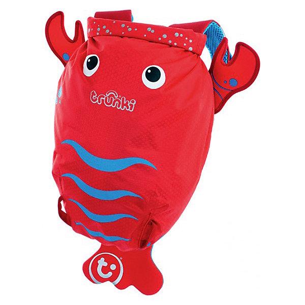 Рюкзак для бассейна и пляжа ЛобстерОчки, маски, ласты, шапочки<br>Красочный стильный рюкзак для бассейна и пляжа Лобстер от мирового производителя детских чемоданов и дорожный аксессуаров Транки (Trunki) - отличный подарок для маленьких путешественников!<br>Рюкзак выполнен в виде ярко-красного лобстера с хвостиком и клешнями. Материал, из которого сделан рюкзак, водоотталкивающий, а это значит, что малышу не придется волноваться за то, что его вещи и любимые игрушки могут промокнуть. <br><br>Рюкзак для бассейна и пляжа оснащен специальным креплением Trunki, с помощью которого к рюкзаку можно подвесить детские солнцезащитные очки. Рюкзак имеет светоотражающую отделку, а также карман в виде плавника, куда можно положить различные мелочи.  <br>Рюкзак Trunki – незаменимый аксессуар для мальчиков и девочек и прекрасный подарок для походов в бассейн или на пляж.<br><br>Дополнительная информация:<br><br>Размер рюкзака: 49,5 х 41 см.<br>Объем: 7,5 литров.<br><br>Рюкзак для бассейна и пляжа Лобстер можно купить в нашем магазине.<br>Ширина мм: 490; Глубина мм: 410; Высота мм: 200; Вес г: 200; Возраст от месяцев: 36; Возраст до месяцев: 84; Пол: Унисекс; Возраст: Детский; SKU: 4090983;