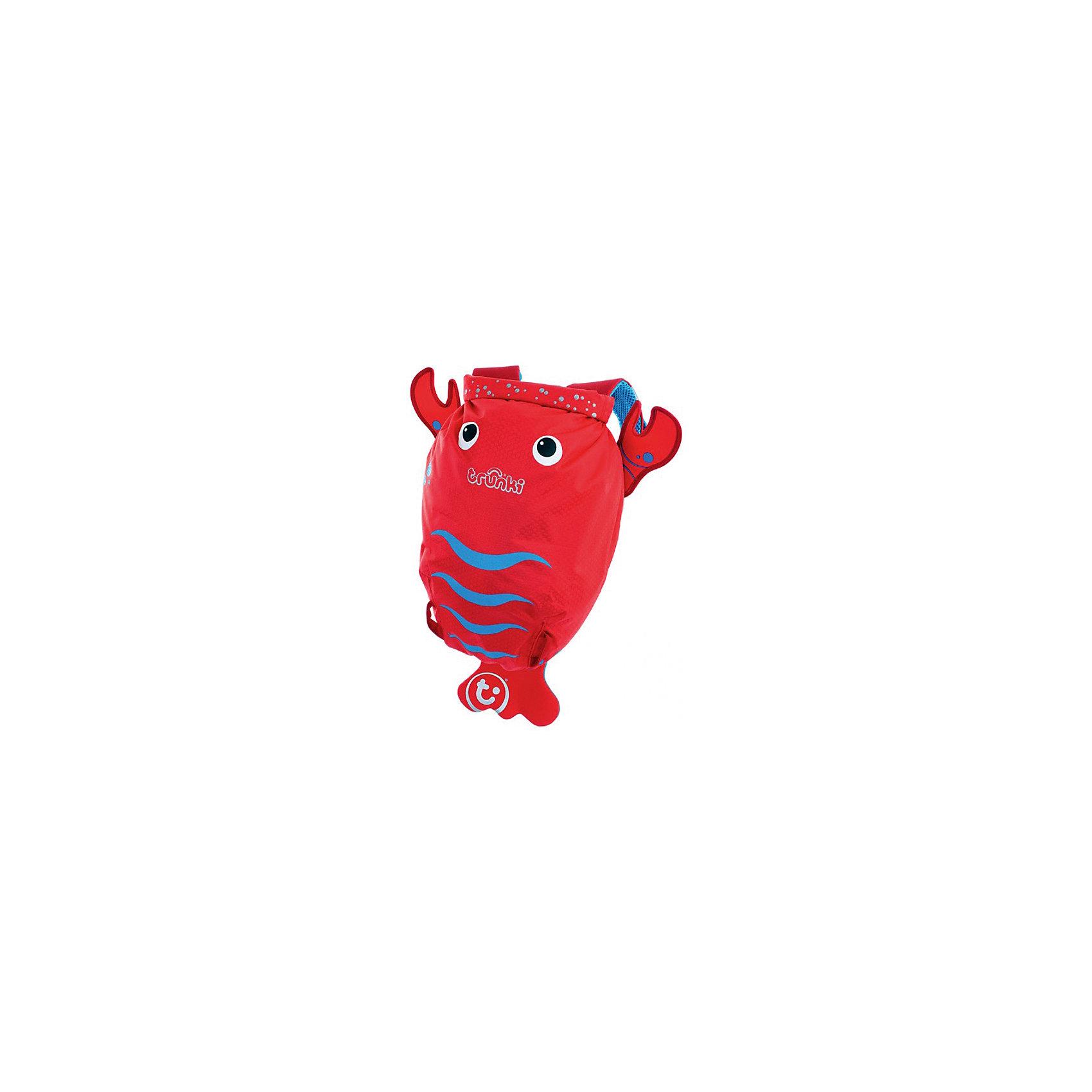 Рюкзак для бассейна и пляжа ЛобстерКрасочный стильный рюкзак для бассейна и пляжа Лобстер от мирового производителя детских чемоданов и дорожный аксессуаров Транки (Trunki) - отличный подарок для маленьких путешественников!<br>Рюкзак выполнен в виде ярко-красного лобстера с хвостиком и клешнями. Материал, из которого сделан рюкзак, водоотталкивающий, а это значит, что малышу не придется волноваться за то, что его вещи и любимые игрушки могут промокнуть. <br><br>Рюкзак для бассейна и пляжа оснащен специальным креплением Trunki, с помощью которого к рюкзаку можно подвесить детские солнцезащитные очки. Рюкзак имеет светоотражающую отделку, а также карман в виде плавника, куда можно положить различные мелочи.  <br>Рюкзак Trunki – незаменимый аксессуар для мальчиков и девочек и прекрасный подарок для походов в бассейн или на пляж.<br><br>Дополнительная информация:<br><br>Размер рюкзака: 49,5 х 41 см.<br>Объем: 7,5 литров.<br><br>Рюкзак для бассейна и пляжа Лобстер можно купить в нашем магазине.<br><br>Ширина мм: 490<br>Глубина мм: 410<br>Высота мм: 200<br>Вес г: 200<br>Возраст от месяцев: 36<br>Возраст до месяцев: 84<br>Пол: Унисекс<br>Возраст: Детский<br>SKU: 4090983