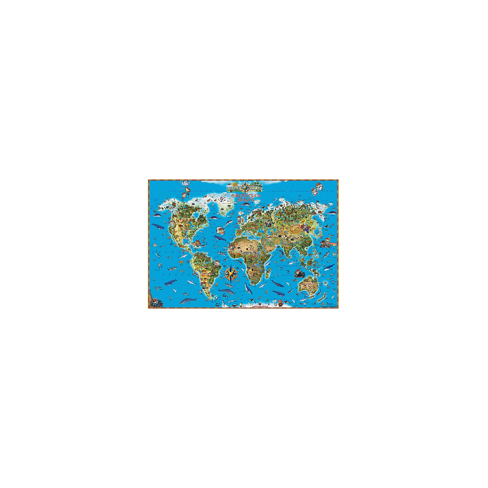 Карта Обитатели ЗемлиАтласы и карты<br>Красочная и информативная карта для наглядного обучения детей  станет замечательным пособием при изучении географии и природоведения. На карте изображены все самые известные представители мировой фауны. С помощью такой карты ребенок легко усвоит названия континентов, островов, морей и океанов, связав их со знакомыми животными. Размеры карты позволяют разместить ее на любой стене детской комнаты. Плотная ламинированная бумага защищает карту от повреждений, заломов и потертостей, а покрытие уменьшает риск выцветания красок на солнце.<br><br>Дополнительная информация:<br><br>- Карта в картонном тубусе.<br>- Материал: бумага.<br>- Размер: 122х79 см. <br>- Масштаб: <br><br>Карту Обитатели Земли можно купить в нашем магазине.<br><br>Ширина мм: 960<br>Глубина мм: 60<br>Высота мм: 960<br>Вес г: 451<br>Возраст от месяцев: 36<br>Возраст до месяцев: 2147483647<br>Пол: Унисекс<br>Возраст: Детский<br>SKU: 4093398