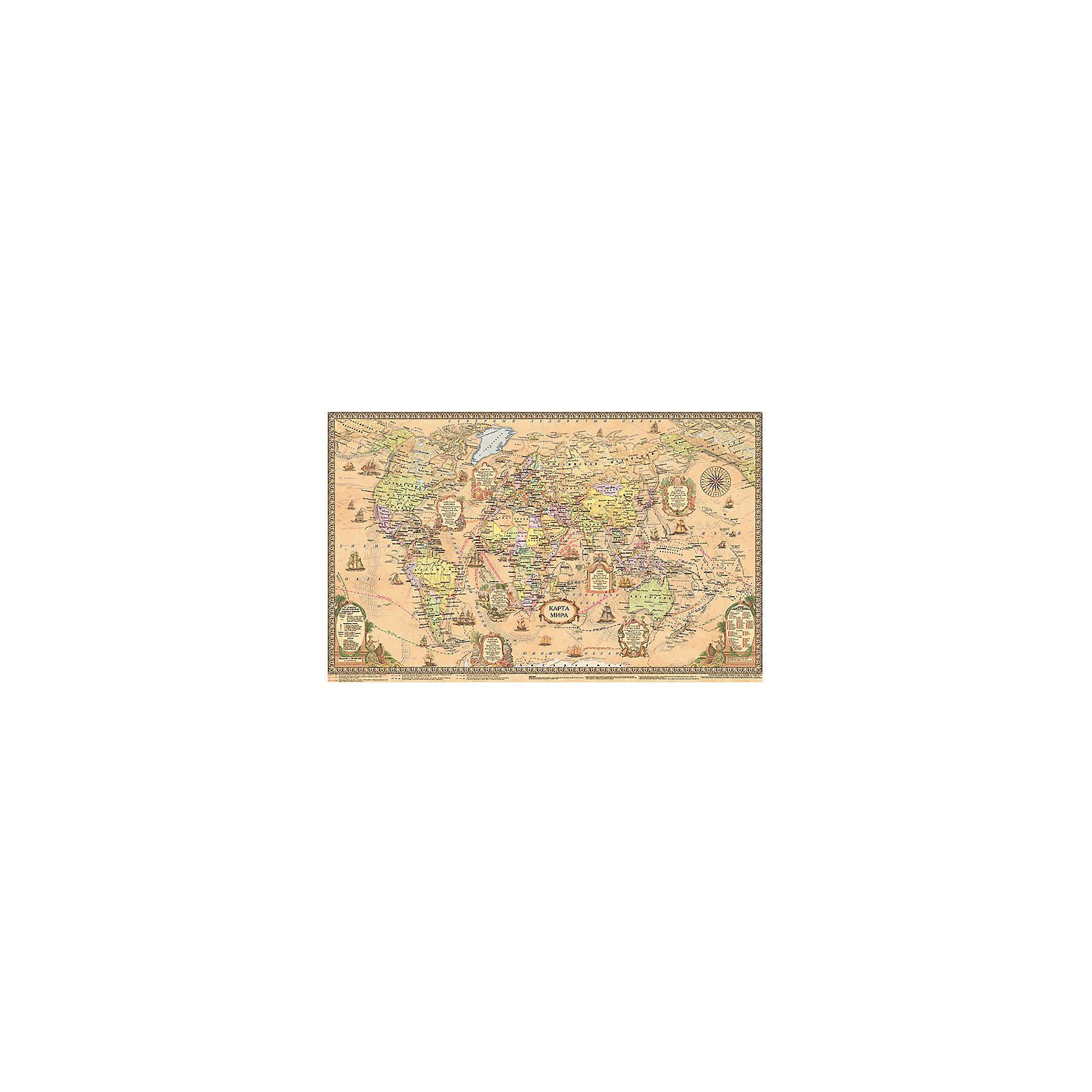 Настольная политическая карта Ретро, масштаб 1:55Плакаты и карты<br>Современная политическая карта мира изображена на фоне цвета старинного пергамента, что придает ей ретро стиль. Все остальные элементы изображены в соответствии с общепринятыми картографическими стандартами. Страны выделены цветом, отмечены столицы, крупные города, водоемы, морские порты. На оборотной стороне карты размещена биография   великих путешественников  и открывателей.<br><br>Дополнительная информация:<br><br>- Материал: бумага.<br>- Размер: 54х37 см.<br>- Двусторонняя карта. <br>- Масштаб: 1:55.<br><br>Настольную политическую карту Ретро, (масштаб 1:55), можно купить в нашем магазине.<br><br>Ширина мм: 370<br>Глубина мм: 570<br>Высота мм: 370<br>Вес г: 90<br>Возраст от месяцев: 36<br>Возраст до месяцев: 2147483647<br>Пол: Унисекс<br>Возраст: Детский<br>SKU: 4093403