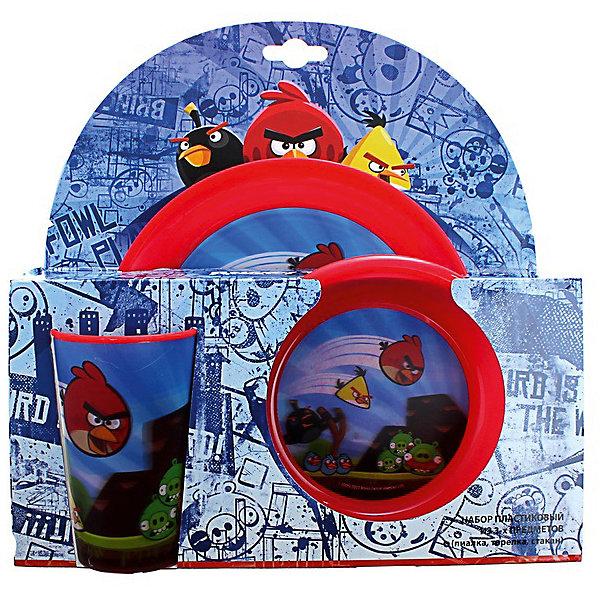 Набор посуды (3 предмета), Angry BirdsДетская посуда<br>Красочный набор детской посуды Angry Birds замечательно подходит для малышей, которые начинают есть самостоятельно. Посуду можно использовать как дома, так и для пикников и обедов на открытом воздухе. В состав набора входят пиала, тарелки и стакан. Все предметы выполнены в яркой красной расцветке по мотивам популярной компьютерной игры Энгри Бердс и украшены изображениями знакомых персонажей - забавных птичек и вредных свинок. Материал представляет собой качественный пищевой пластик, не вызывающий аллергии и безопасный для детского здоровья. <br><br>Дополнительная информация:<br><br>- В комплекте: 1 пиала (14,8 см.), 1 тарелка (19,8 см.), 1 стакан (250 мл.).<br>- Материал: пластик.<br>- Размер упаковки: 27,2 х 9 х 27 см.<br>- Вес: 0,18 кг. <br><br>Красный набор посуды Angry Birds (3 предмета) можно купить в нашем интернет-магазине.<br>Ширина мм: 272; Глубина мм: 90; Высота мм: 270; Вес г: 180; Возраст от месяцев: 36; Возраст до месяцев: 144; Пол: Унисекс; Возраст: Детский; SKU: 4093839;
