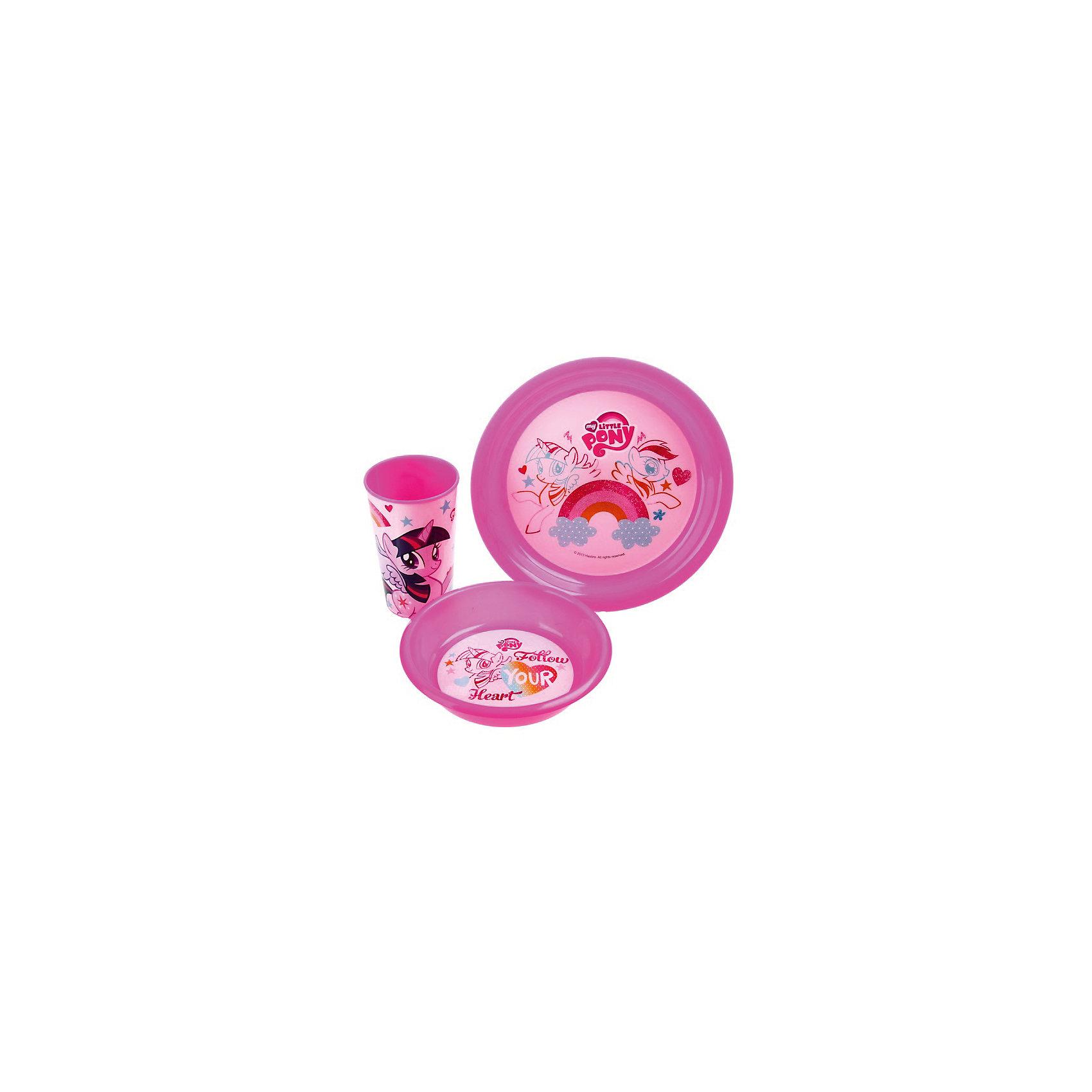 Розовый набор посуды (3 предмета), My little Pony